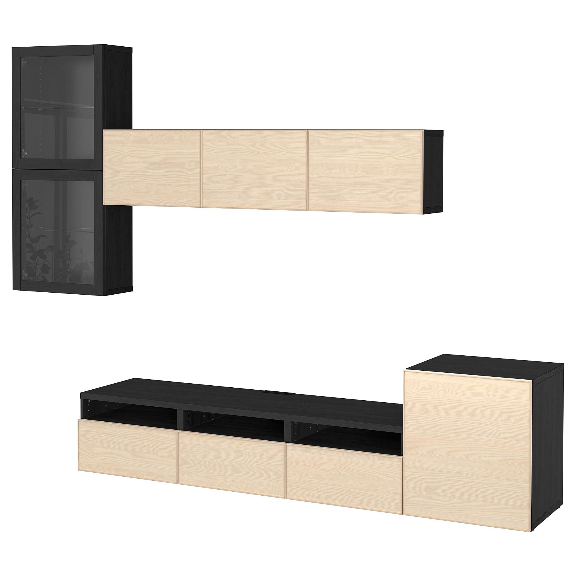 Шкаф для ТВ, комбинированный, стекляные дверцы БЕСТО черно-коричневый артикуль № 192.522.48 в наличии. Интернет магазин IKEA Минск. Недорогая доставка и соборка.