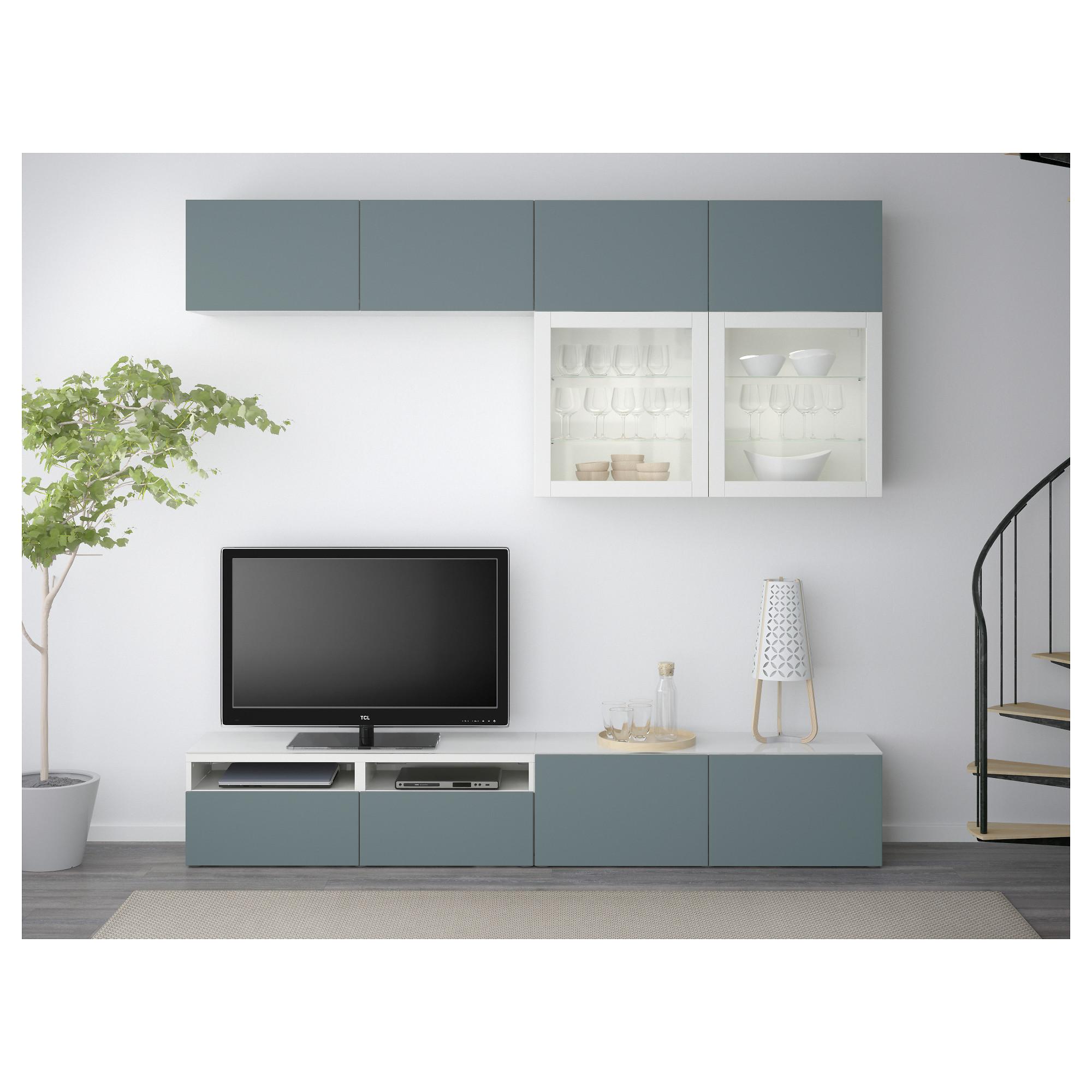 Шкаф для ТВ, комбинированный, стекляные дверцы БЕСТО белый артикуль № 292.453.56 в наличии. Интернет каталог IKEA Минск. Недорогая доставка и монтаж.