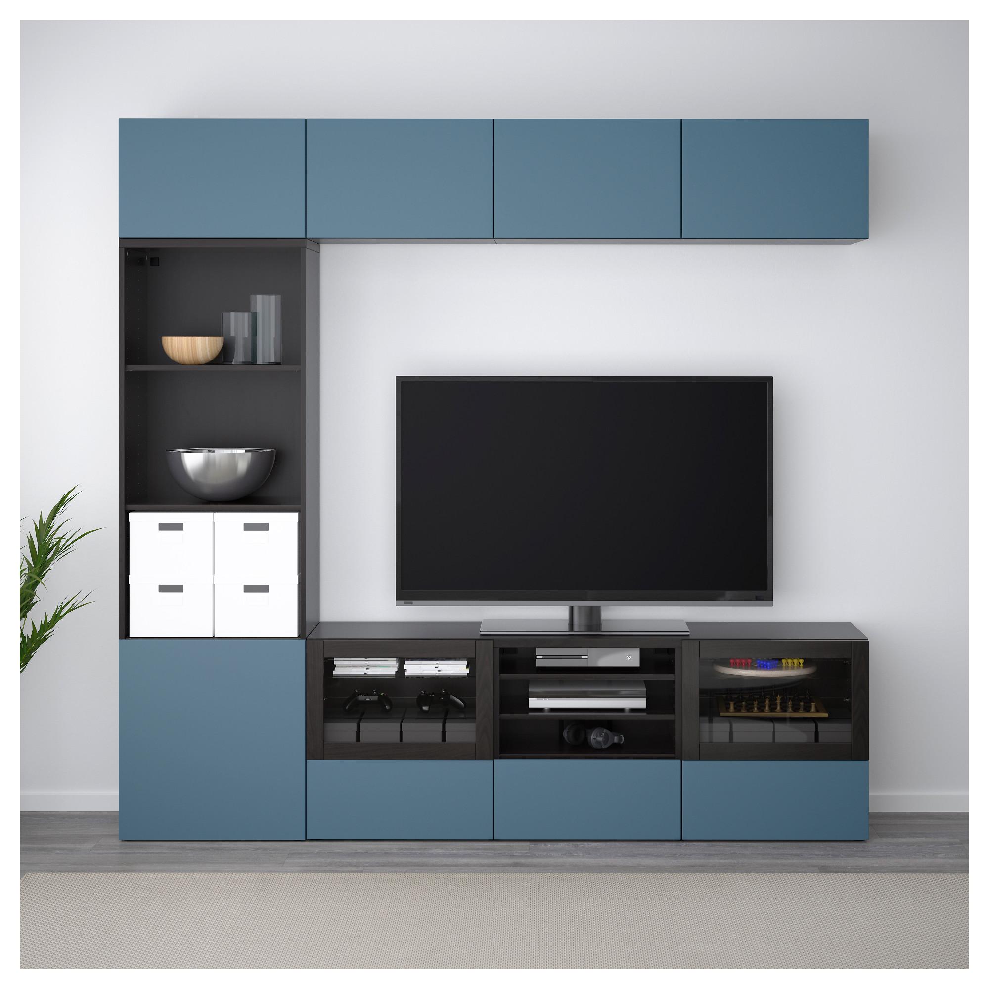 Шкаф для ТВ, комбинированный, стекляные дверцы БЕСТО артикуль № 292.501.40 в наличии. Интернет каталог IKEA РБ. Недорогая доставка и соборка.
