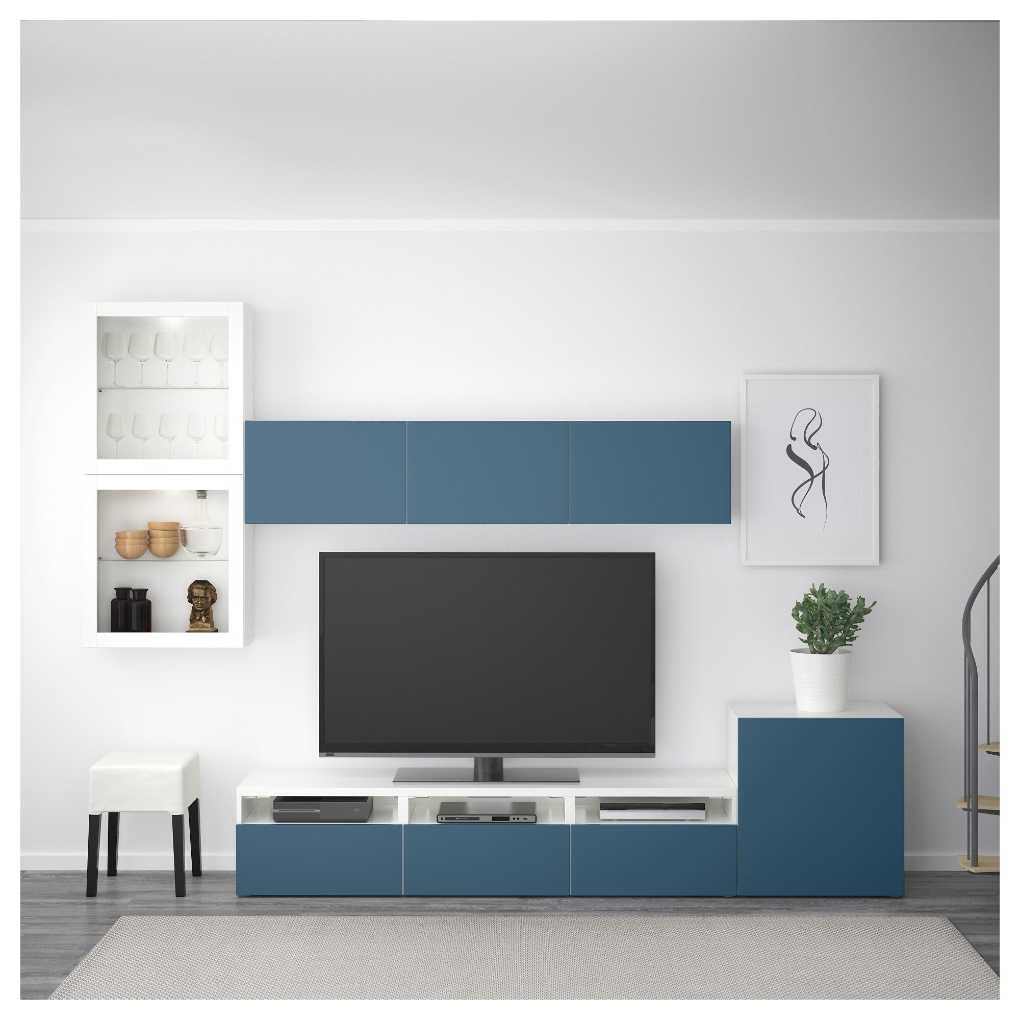 Шкаф для ТВ, комбинированный, стекляные дверцы БЕСТО артикуль № 292.522.57 в наличии. Online сайт IKEA Минск. Недорогая доставка и установка.