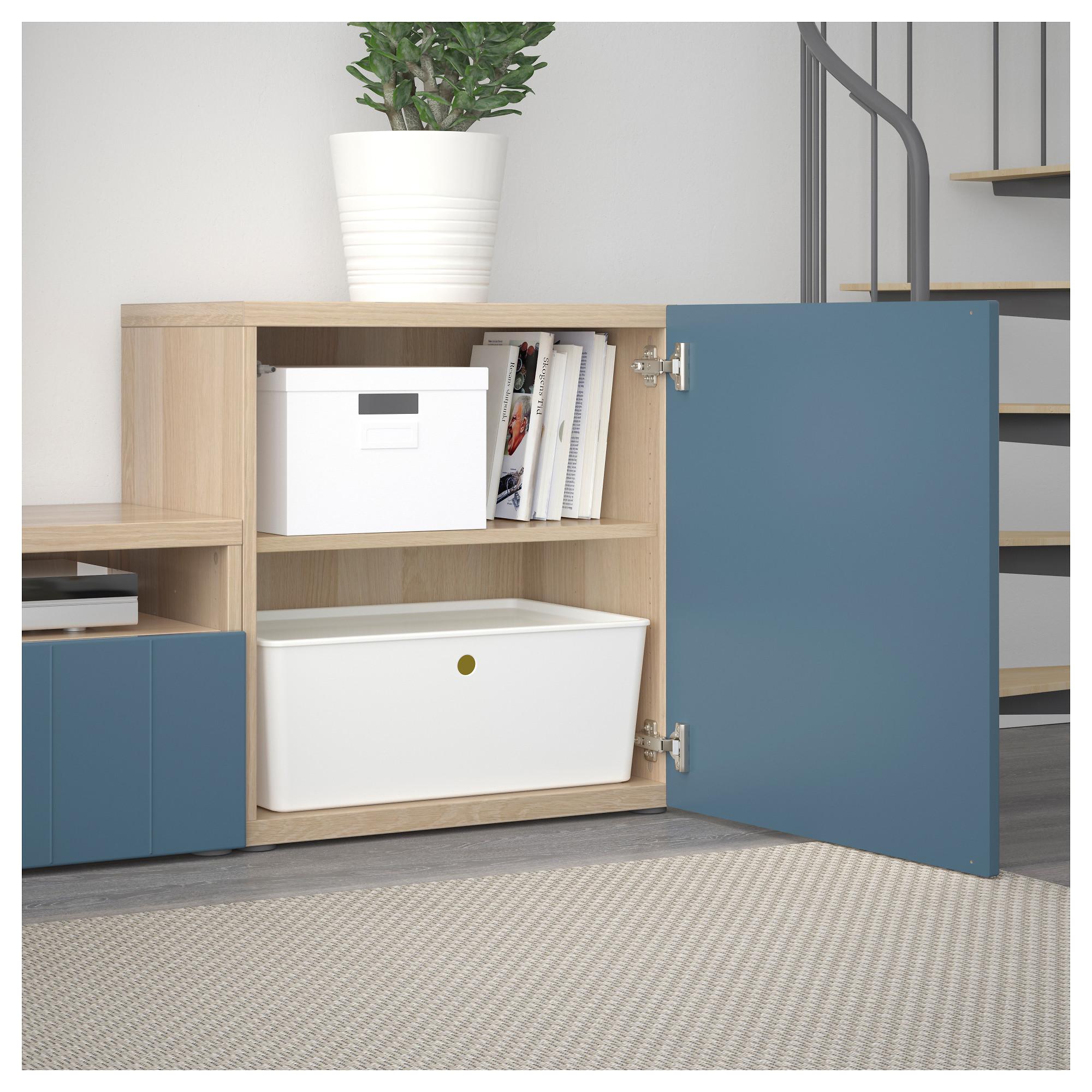 Шкаф для ТВ, комбинированный, стекляные дверцы БЕСТО темно-синий артикуль № 292.761.35 в наличии. Online сайт IKEA Минск. Быстрая доставка и монтаж.