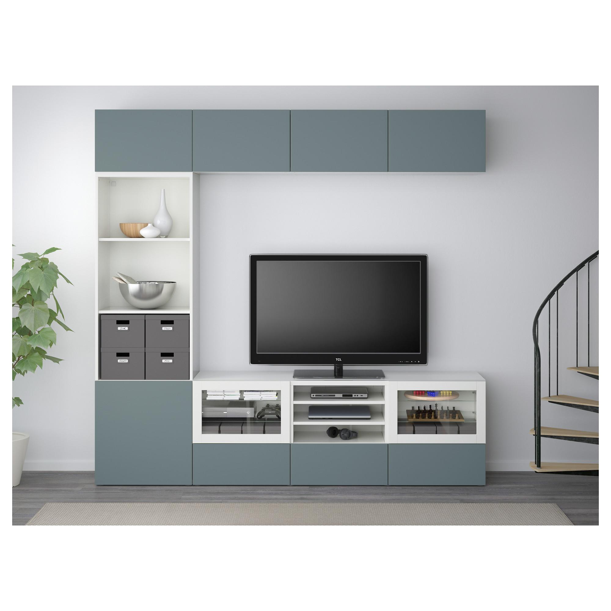 Шкаф для ТВ, комбинированный, стекляные дверцы БЕСТО белый артикуль № 392.462.42 в наличии. Интернет каталог IKEA РБ. Недорогая доставка и монтаж.