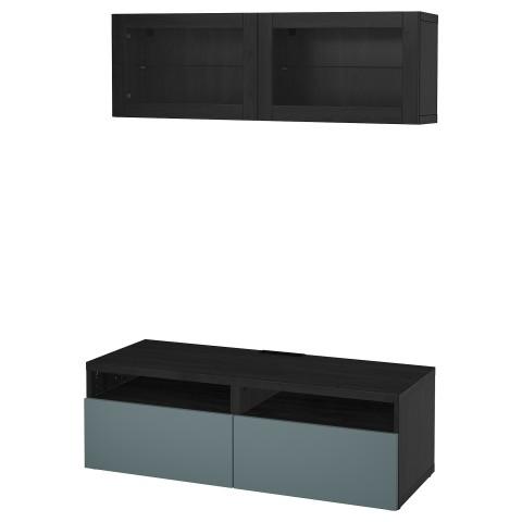 Шкаф для ТВ, комбинированный, стекляные дверцы БЕСТО артикуль № 392.504.94 в наличии. Online каталог IKEA Минск. Быстрая доставка и монтаж.