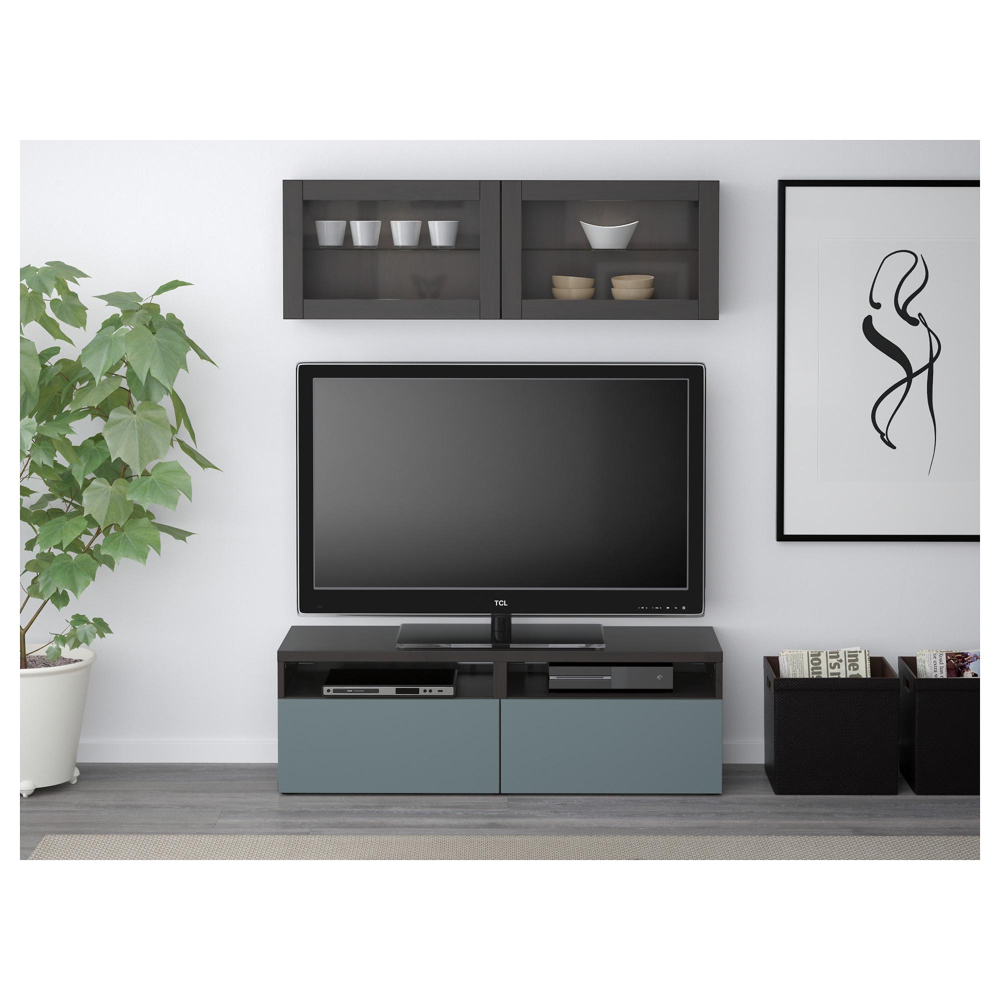 Шкаф для ТВ, комбинированный, стекляные дверцы БЕСТО артикуль № 392.504.94 в наличии. Online сайт IKEA Минск. Быстрая доставка и монтаж.