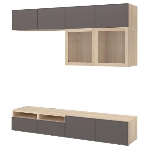 Шкаф для ТВ, комбинированный, стекляные дверцы БЕСТО темно-серый артикуль № 392.522.09 в наличии. Онлайн каталог IKEA Минск. Недорогая доставка и установка.
