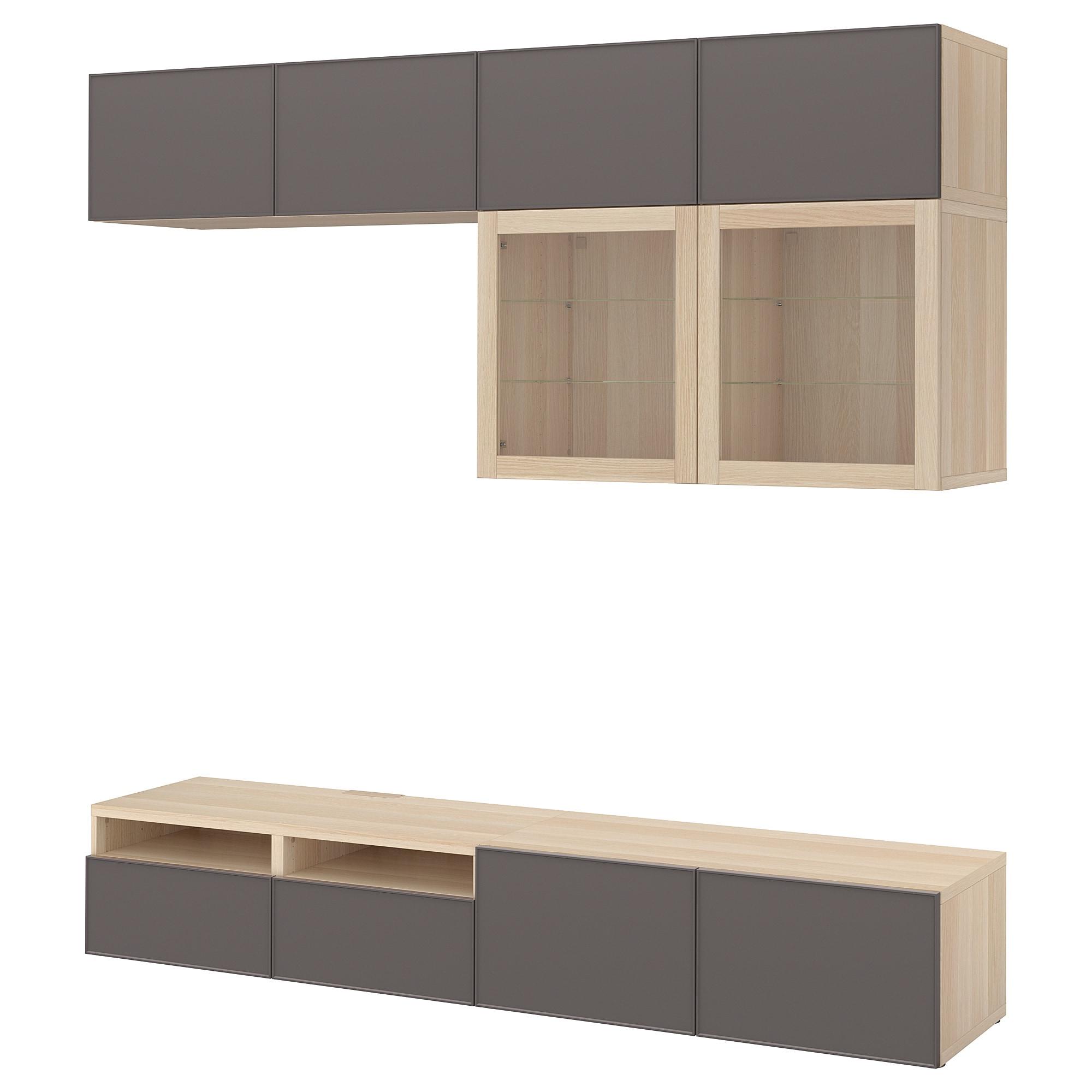 Шкаф для ТВ, комбинированный, стекляные дверцы БЕСТО темно-серый артикуль № 392.522.09 в наличии. Интернет магазин IKEA Беларусь. Недорогая доставка и монтаж.