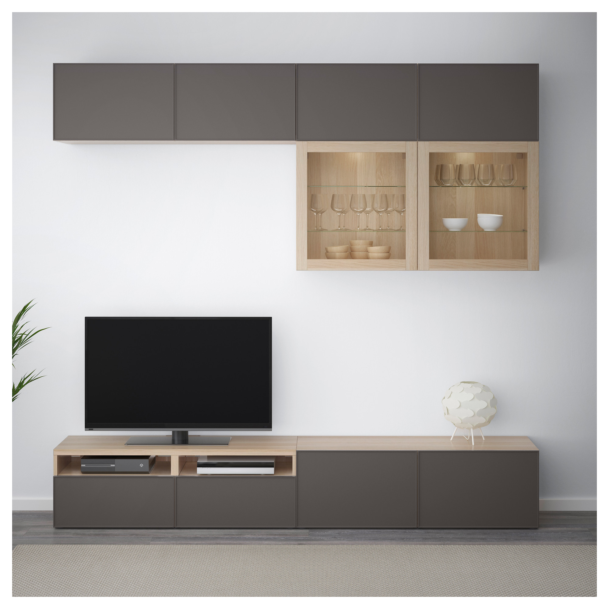 Шкаф для ТВ, комбинированный, стекляные дверцы БЕСТО темно-серый артикуль № 392.522.09 в наличии. Онлайн магазин IKEA Минск. Быстрая доставка и установка.