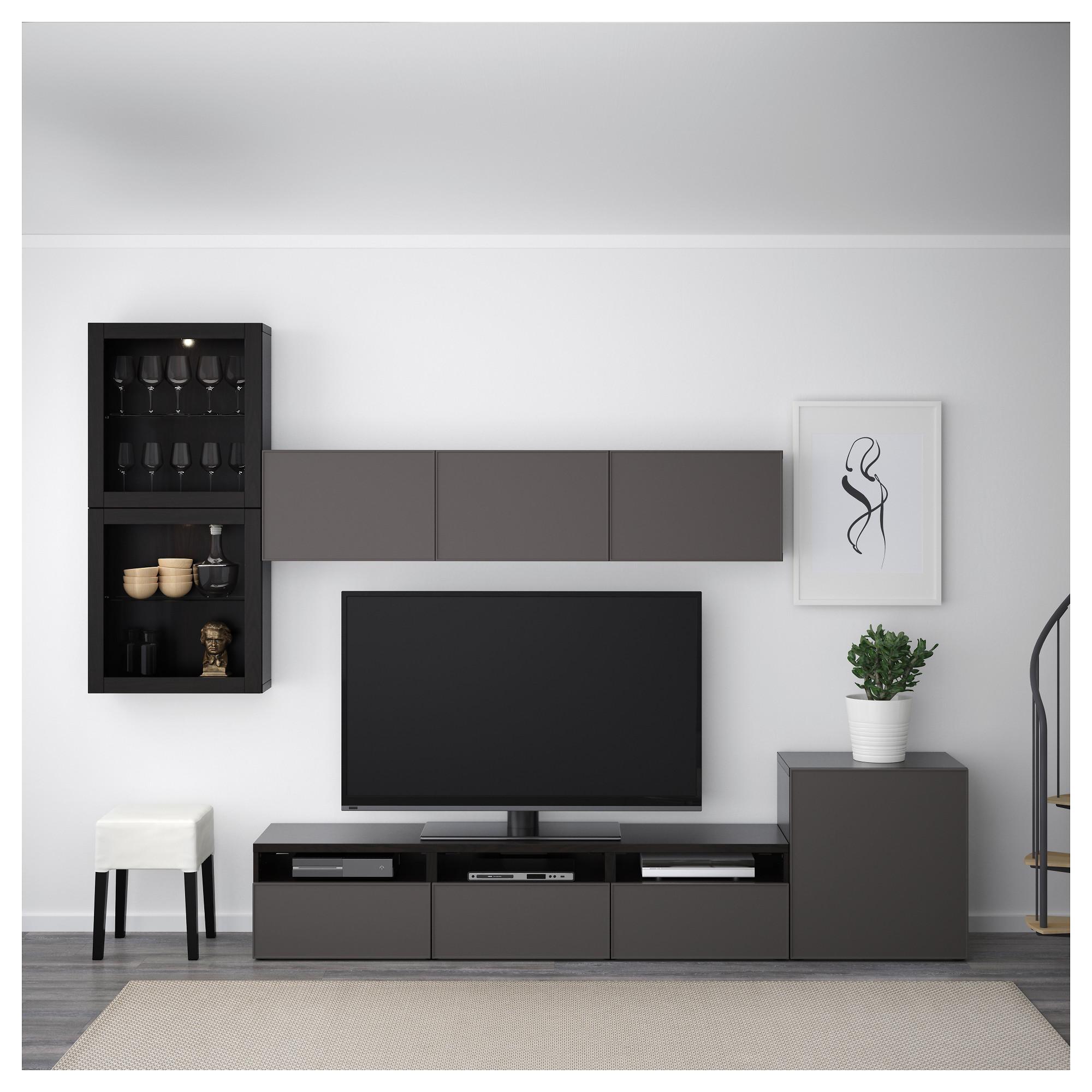 Шкаф для ТВ, комбинированный, стекляные дверцы БЕСТО артикуль № 392.522.47 в наличии. Онлайн магазин ИКЕА РБ. Недорогая доставка и установка.