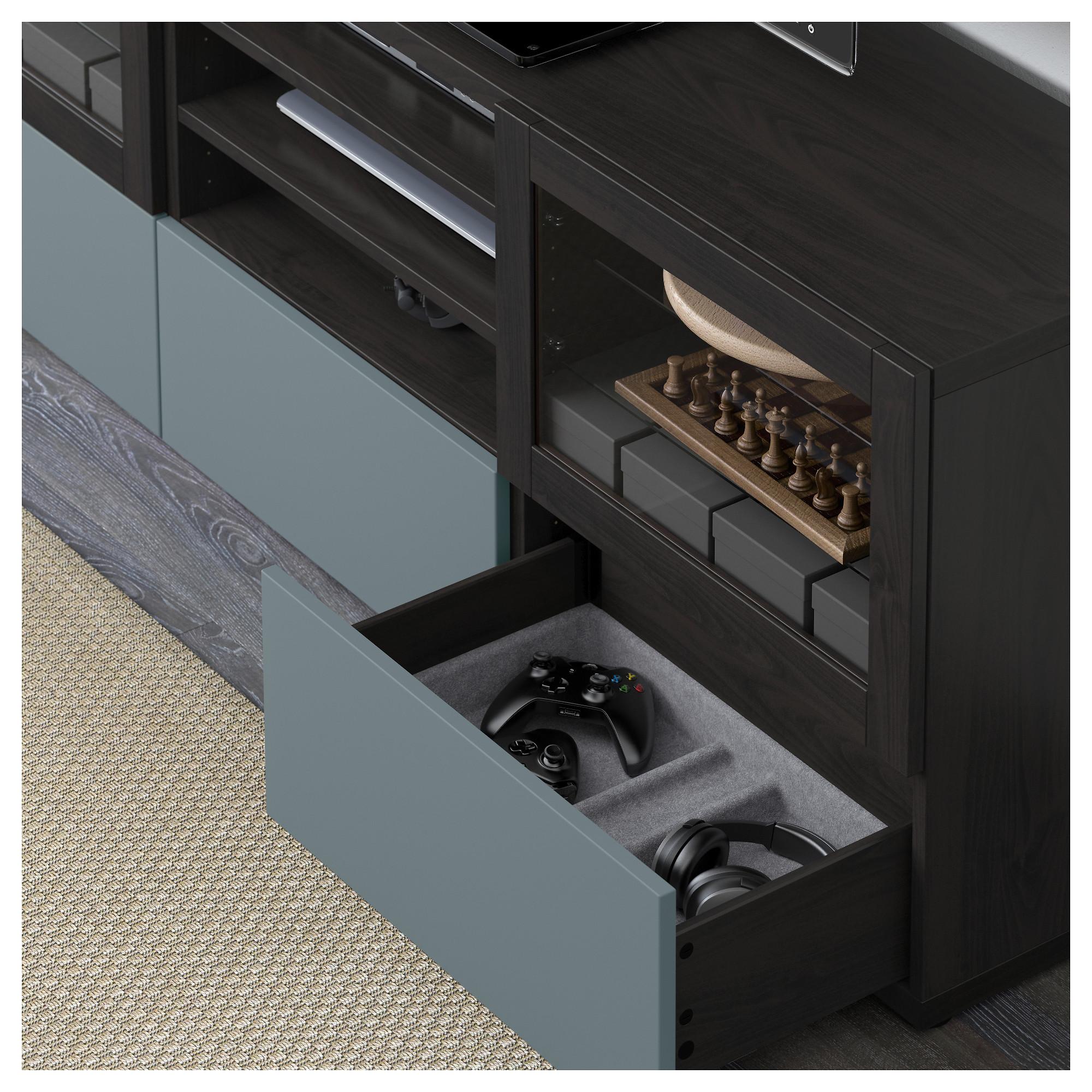 Шкаф для ТВ, комбинированный, стекляные дверцы БЕСТО артикуль № 492.501.77 в наличии. Интернет сайт IKEA Беларусь. Недорогая доставка и установка.