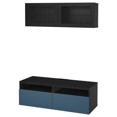 Шкаф для ТВ, комбинированный, стекляные дверцы БЕСТО артикуль № 492.504.98 в наличии. Online сайт IKEA Минск. Недорогая доставка и монтаж.