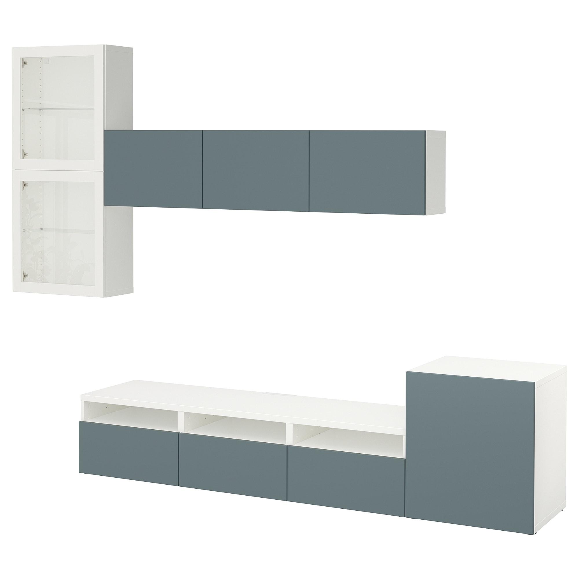Шкаф для ТВ, комбинированный, стекляные дверцы БЕСТО белый артикуль № 492.522.18 в наличии. Online сайт IKEA Минск. Быстрая доставка и установка.