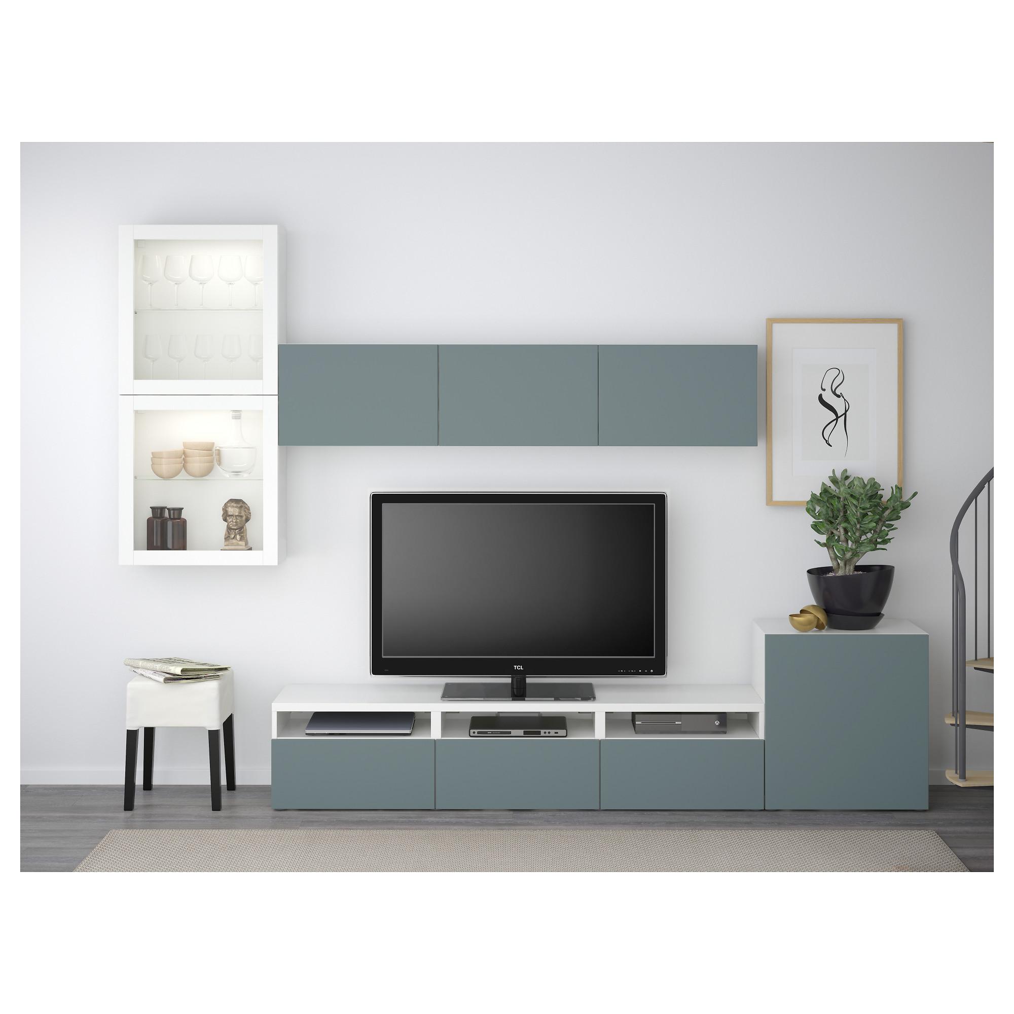 Шкаф для ТВ, комбинированный, стекляные дверцы БЕСТО белый артикуль № 492.522.18 в наличии. Online магазин IKEA Беларусь. Недорогая доставка и монтаж.