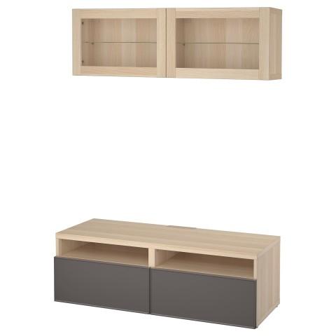 Шкаф для ТВ, комбинированный, стекляные дверцы БЕСТО темно-серый артикуль № 592.504.88 в наличии. Online магазин IKEA Беларусь. Недорогая доставка и монтаж.