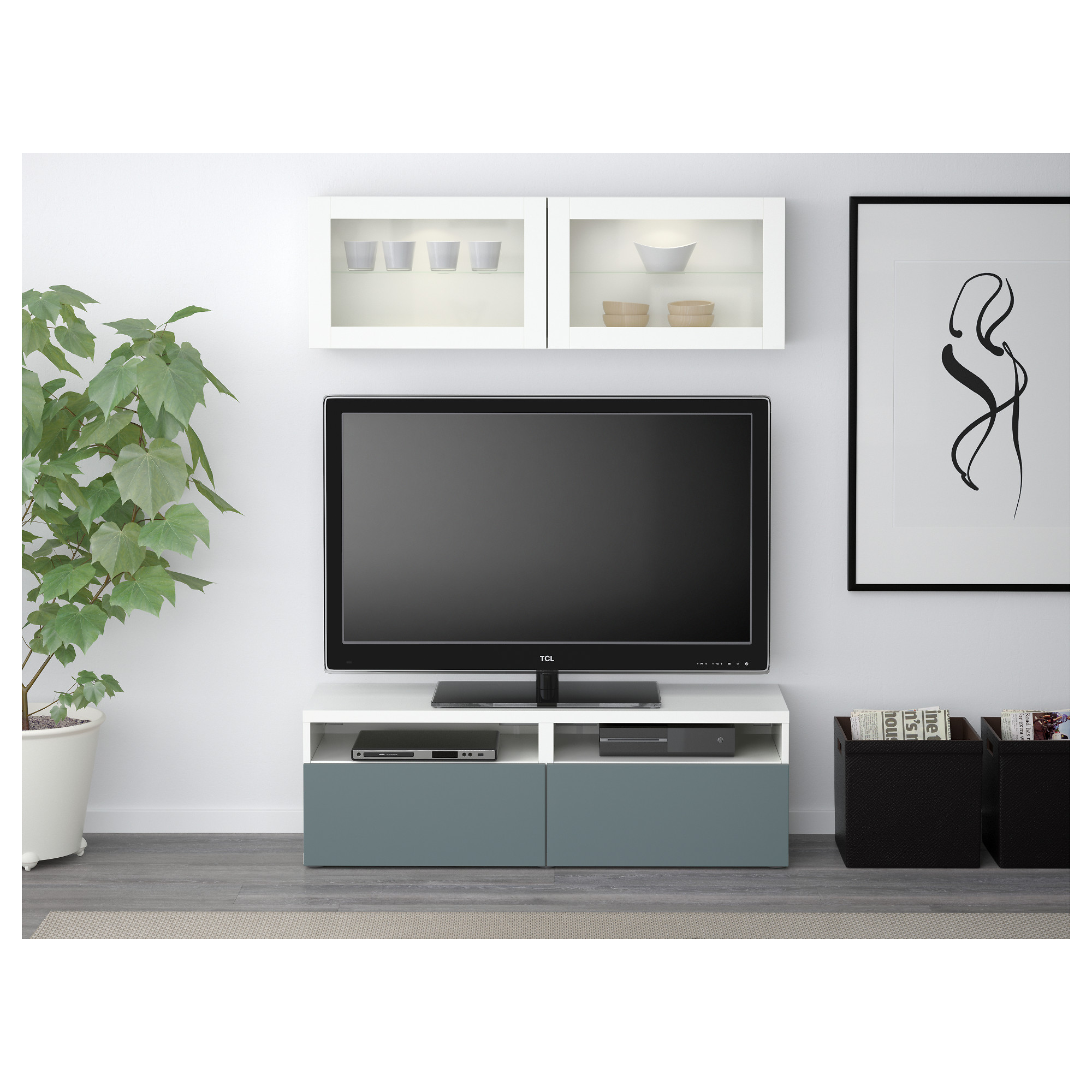 Шкаф для ТВ, комбинированный, стекляные дверцы БЕСТО белый артикуль № 592.504.93 в наличии. Онлайн сайт ИКЕА Минск. Недорогая доставка и монтаж.