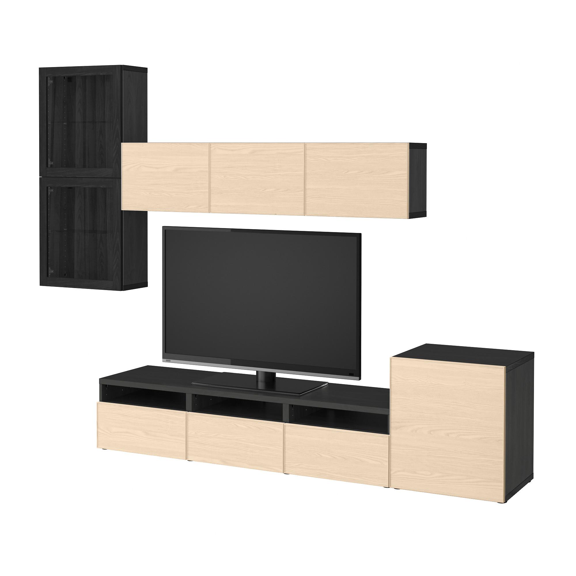 Шкаф для ТВ, комбинированный, стекляные дверцы БЕСТО черно-коричневый артикуль № 592.522.13 в наличии. Онлайн каталог IKEA РБ. Быстрая доставка и монтаж.