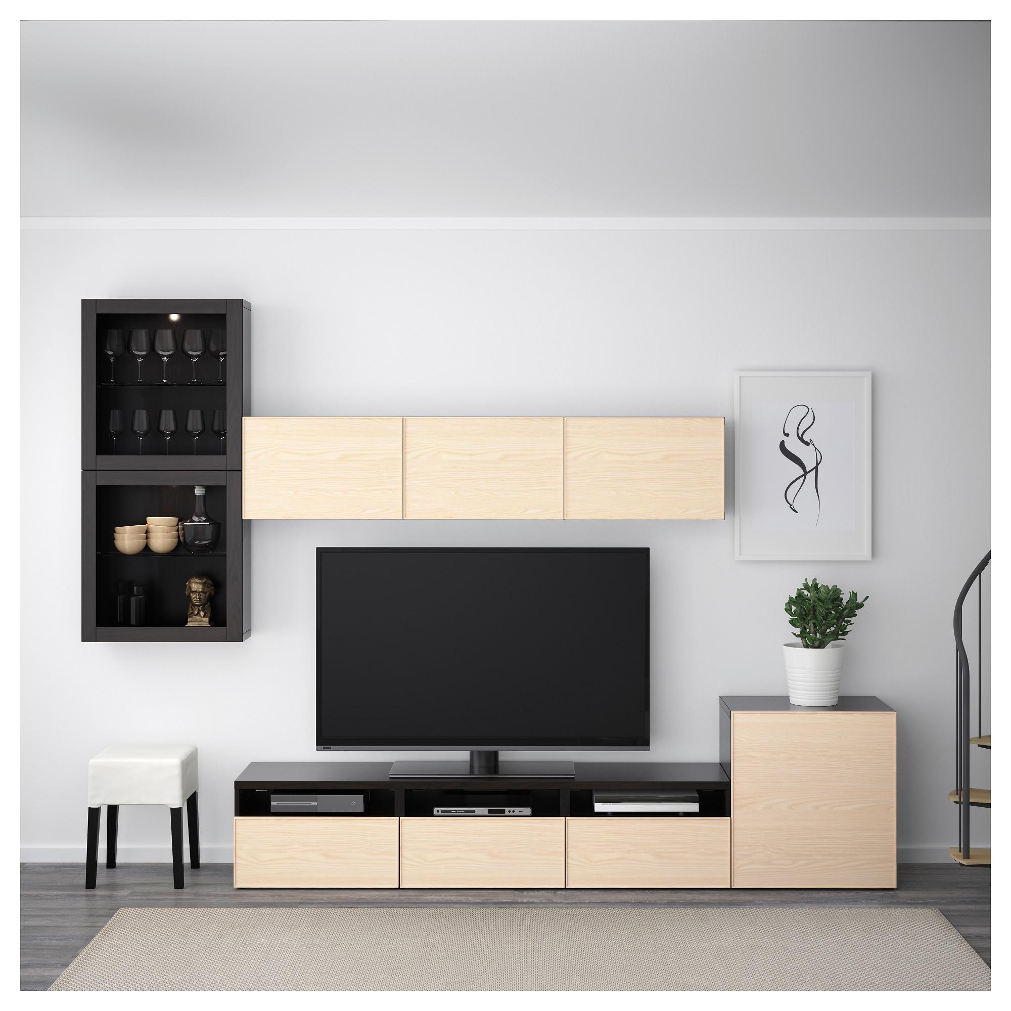 Шкаф для ТВ, комбинированный, стекляные дверцы БЕСТО черно-коричневый артикуль № 592.522.13 в наличии. Online сайт IKEA Беларусь. Недорогая доставка и установка.