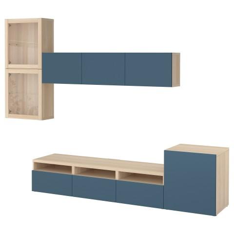 Шкаф для ТВ, комбинированный, стекляные дверцы БЕСТО темно-синий артикуль № 592.522.27 в наличии. Онлайн магазин ИКЕА РБ. Быстрая доставка и установка.