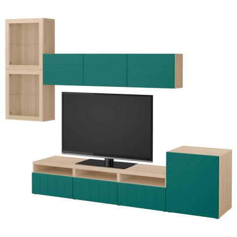 Шкаф для ТВ, комбинированный, стекляные дверцы БЕСТО сине-зеленый артикуль № 592.761.34 в наличии. Online каталог IKEA Беларусь. Недорогая доставка и монтаж.