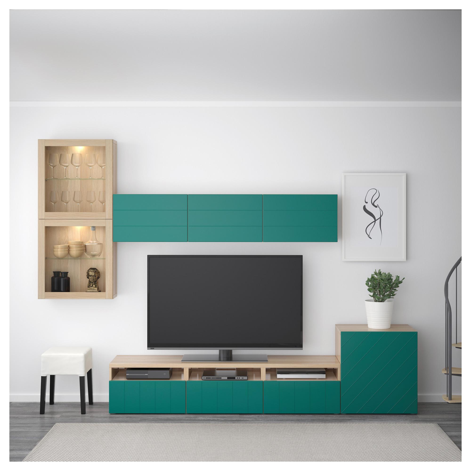 Шкаф для ТВ, комбинированный, стекляные дверцы БЕСТО сине-зеленый артикуль № 592.761.34 в наличии. Online сайт IKEA РБ. Быстрая доставка и соборка.