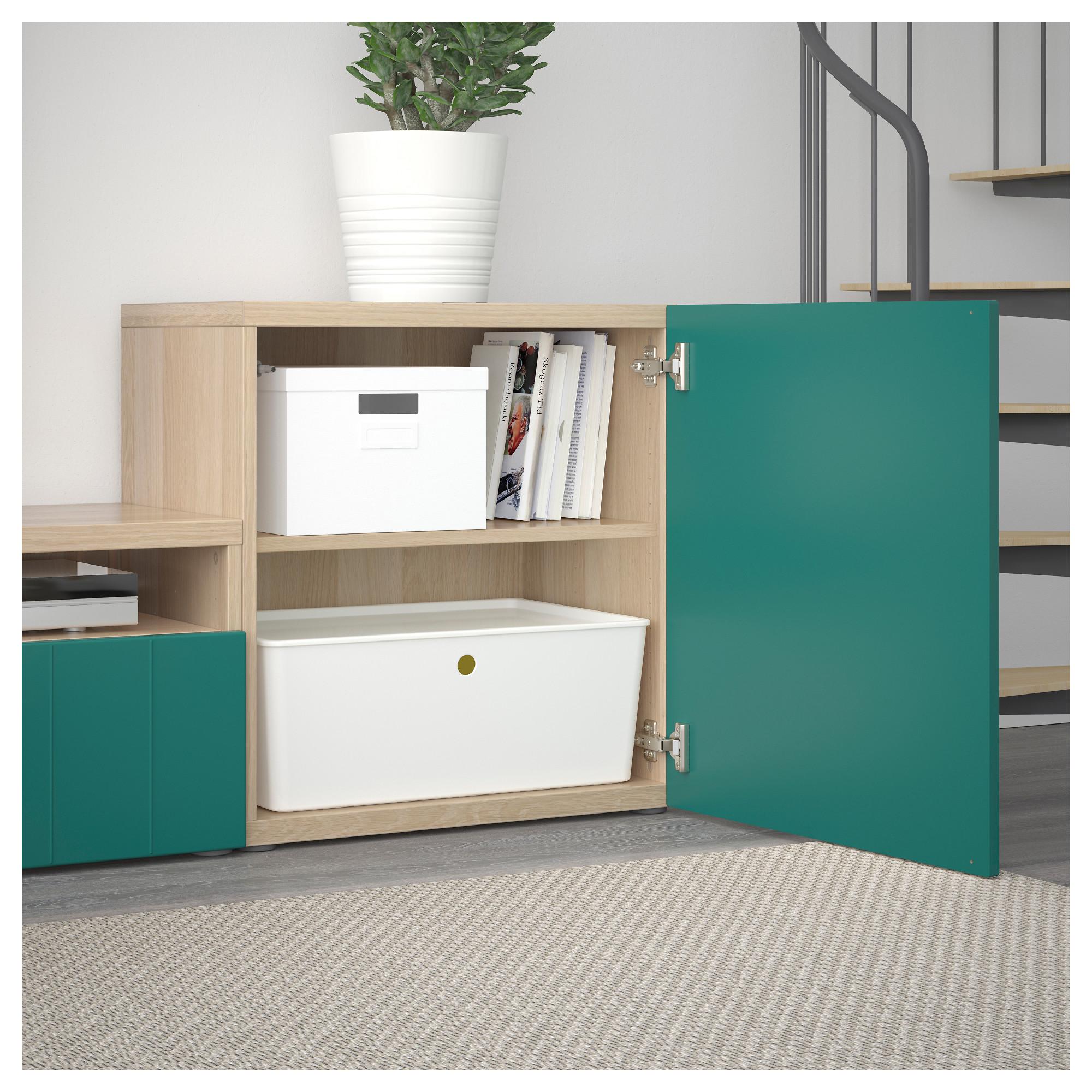 Шкаф для ТВ, комбинированный, стекляные дверцы БЕСТО сине-зеленый артикуль № 592.761.34 в наличии. Онлайн сайт IKEA Минск. Недорогая доставка и соборка.