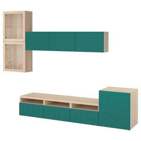 Шкаф для ТВ, комбинированный, стекляные дверцы БЕСТО сине-зеленый артикуль № 692.761.38 в наличии. Online сайт ИКЕА РБ. Быстрая доставка и монтаж.