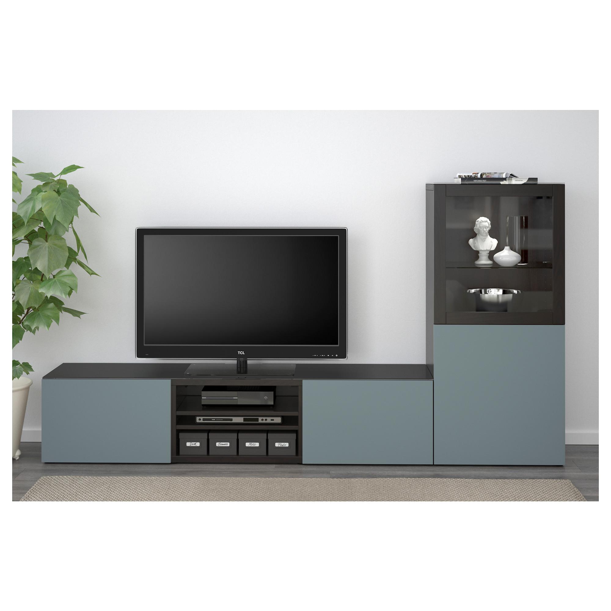Шкаф для ТВ, комбинированный, стекляные дверцы БЕСТО артикуль № 792.453.06 в наличии. Интернет магазин IKEA РБ. Недорогая доставка и соборка.