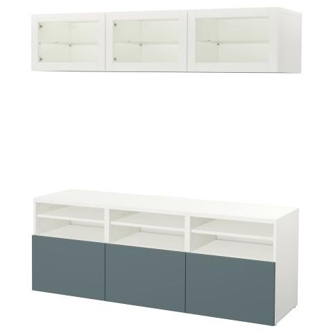 Шкаф для ТВ, комбинированный, стекляные дверцы БЕСТО белый артикуль № 792.498.37 в наличии. Онлайн магазин IKEA Минск. Быстрая доставка и установка.