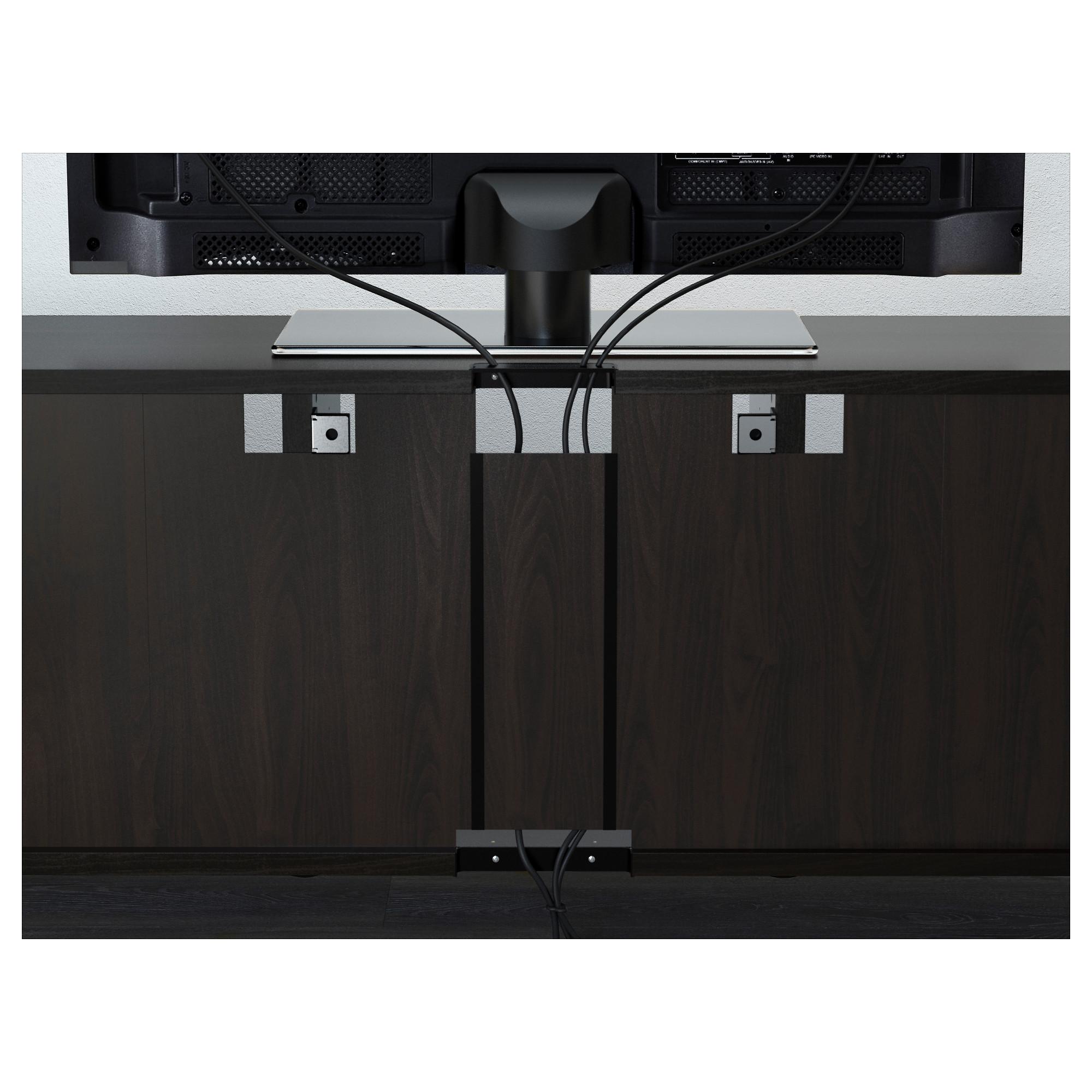 Шкаф для ТВ, комбинированный, стекляные дверцы БЕСТО черно-коричневый артикуль № 792.501.47 в наличии. Интернет каталог IKEA РБ. Недорогая доставка и установка.