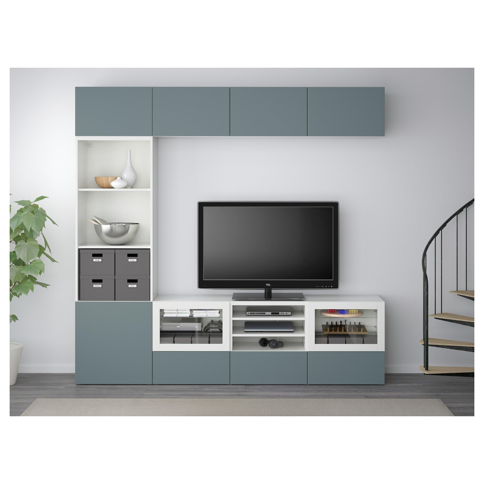 Шкаф для ТВ, комбинированный, стекляные дверцы БЕСТО белый артикуль № 792.501.66 в наличии. Интернет каталог ИКЕА РБ. Недорогая доставка и установка.