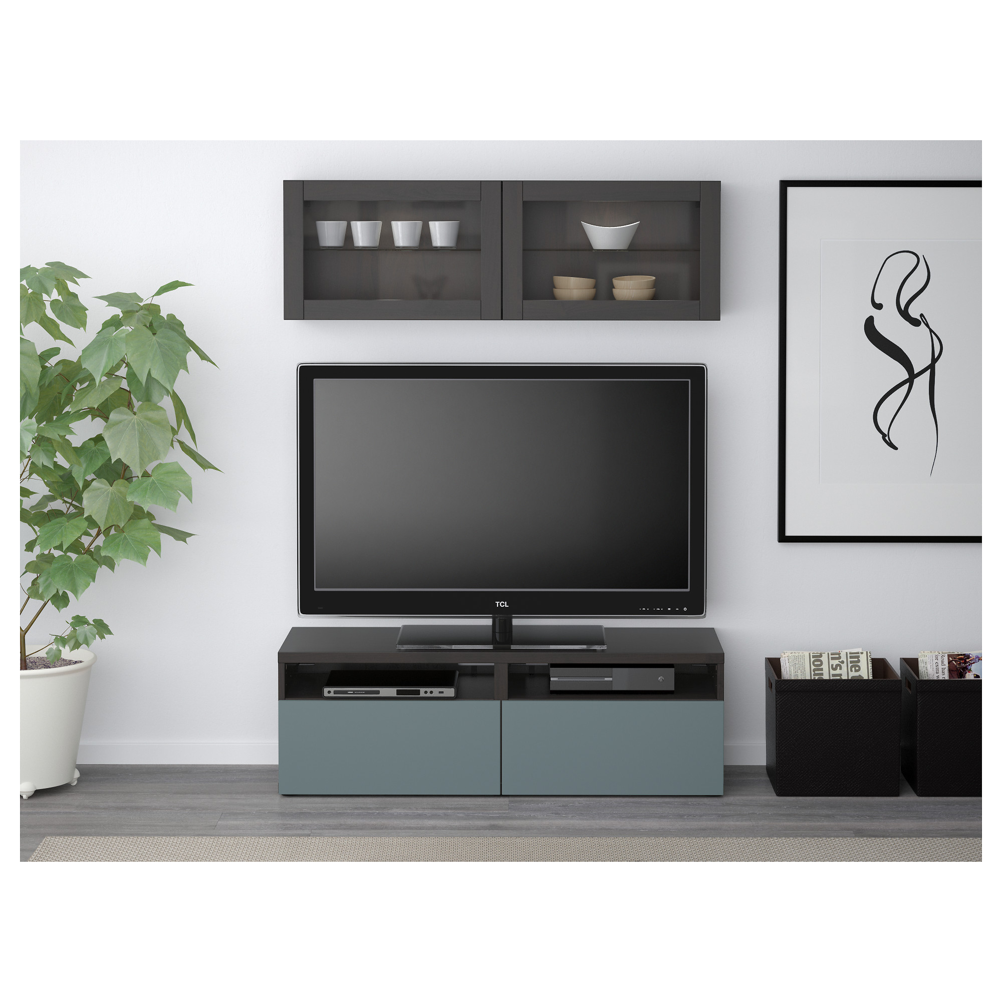 Шкаф для ТВ, комбинированный, стекляные дверцы БЕСТО артикуль № 792.504.92 в наличии. Online магазин IKEA Минск. Быстрая доставка и соборка.
