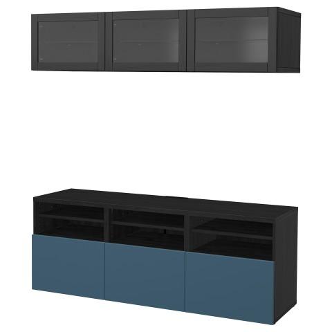 Шкаф для ТВ, комбинированный, стекляные дверцы БЕСТО артикуль № 892.498.65 в наличии. Online сайт IKEA РБ. Недорогая доставка и установка.