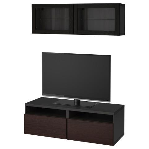 Шкаф для ТВ, комбинированный, стекляные дверцы БЕСТО черно-коричневый артикуль № 892.504.77 в наличии. Онлайн магазин IKEA Беларусь. Быстрая доставка и соборка.
