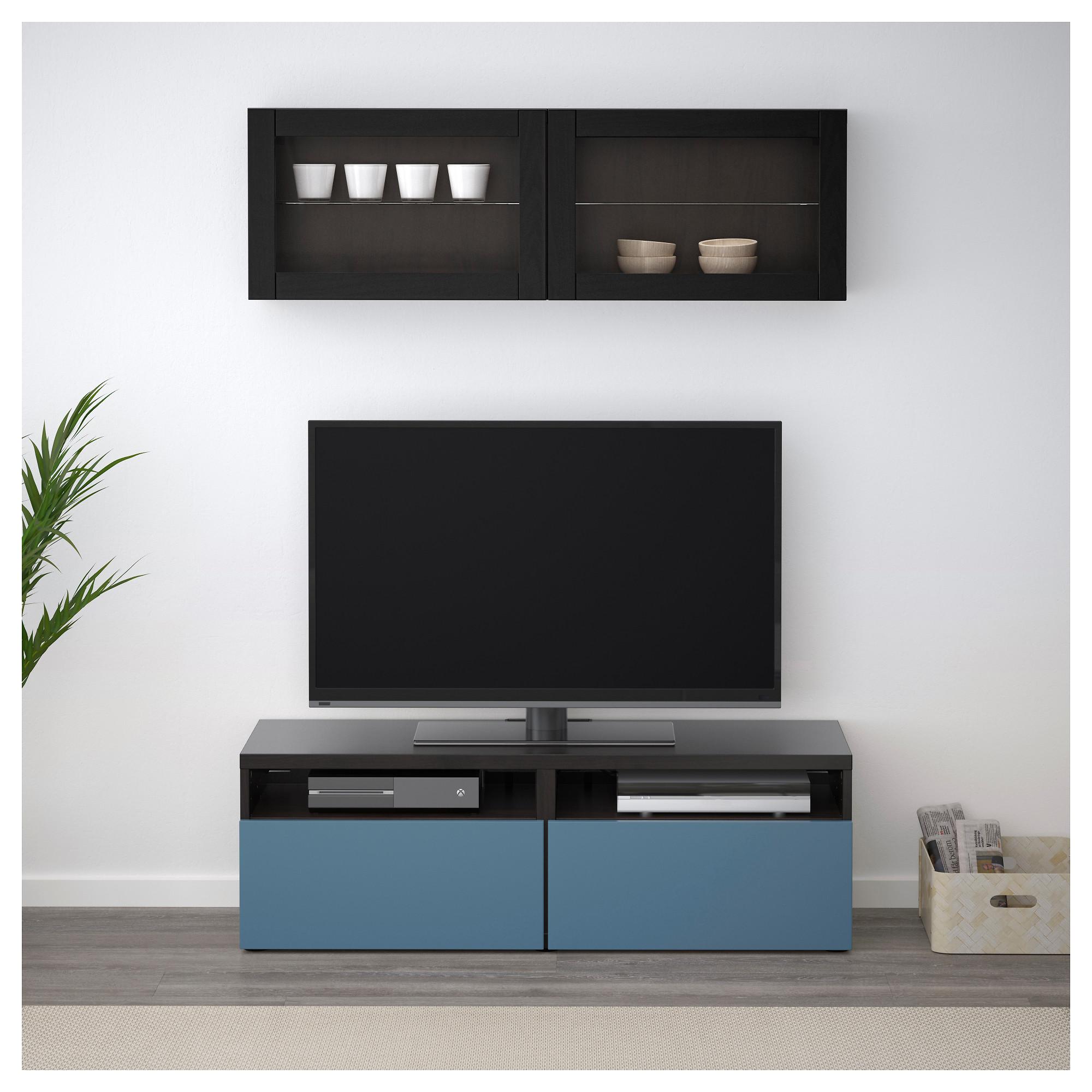 Шкаф для ТВ, комбинированный, стекляные дверцы БЕСТО артикуль № 892.504.96 в наличии. Online магазин IKEA РБ. Быстрая доставка и установка.