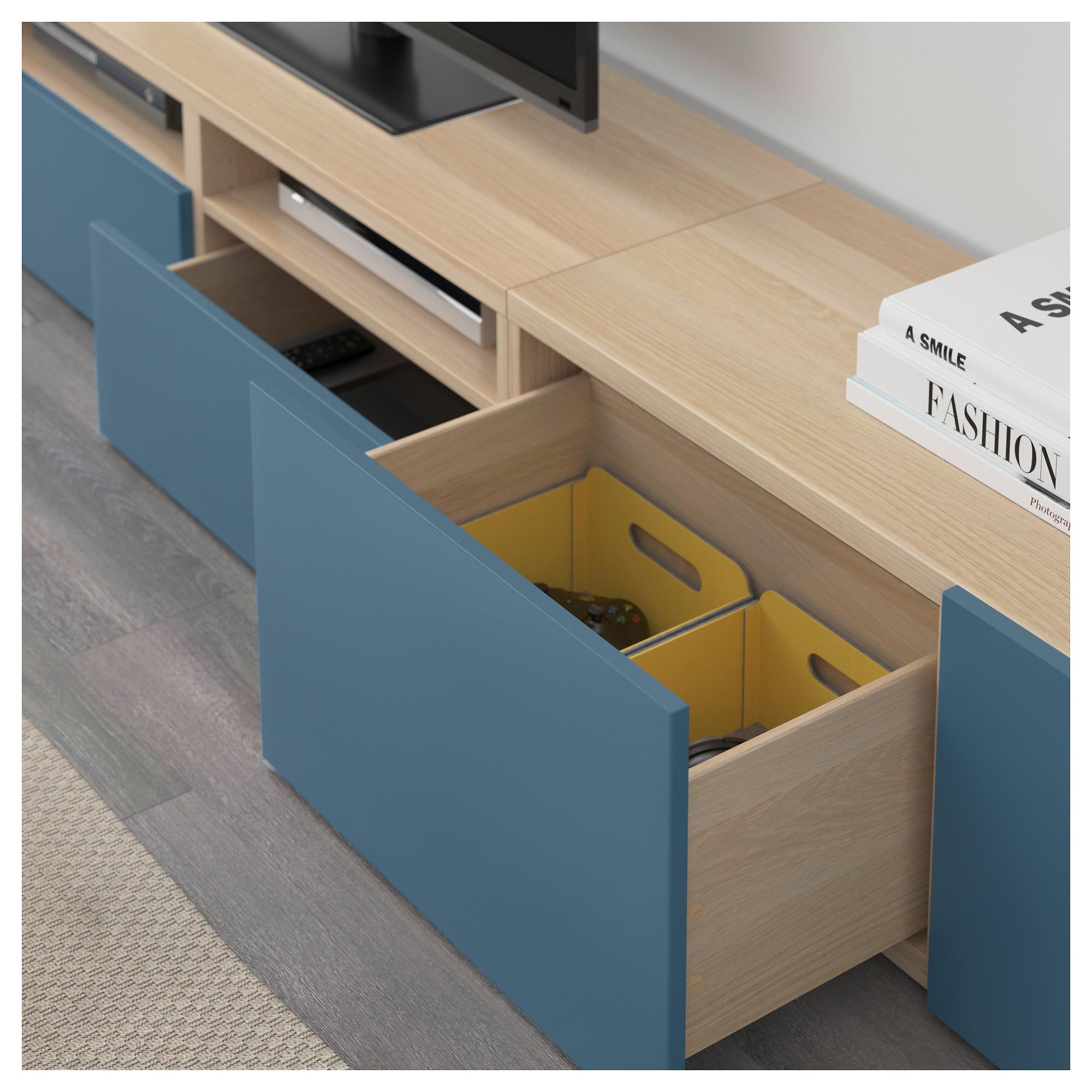 Шкаф для ТВ, комбинированный, стекляные дверцы БЕСТО темно-синий артикуль № 892.506.89 в наличии. Онлайн магазин IKEA Беларусь. Недорогая доставка и соборка.