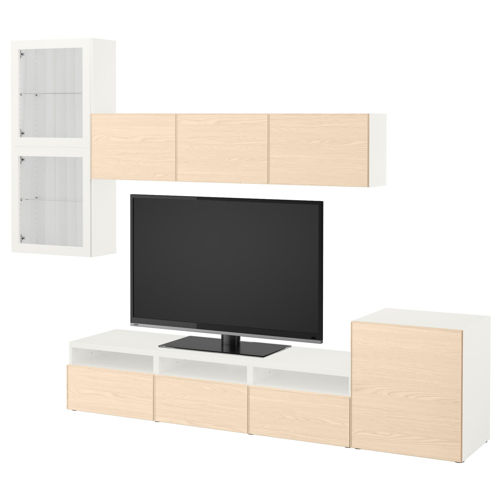 Шкаф для ТВ, комбинированный, стекляные дверцы БЕСТО белый артикуль № 892.522.16 в наличии. Онлайн магазин ИКЕА РБ. Быстрая доставка и соборка.