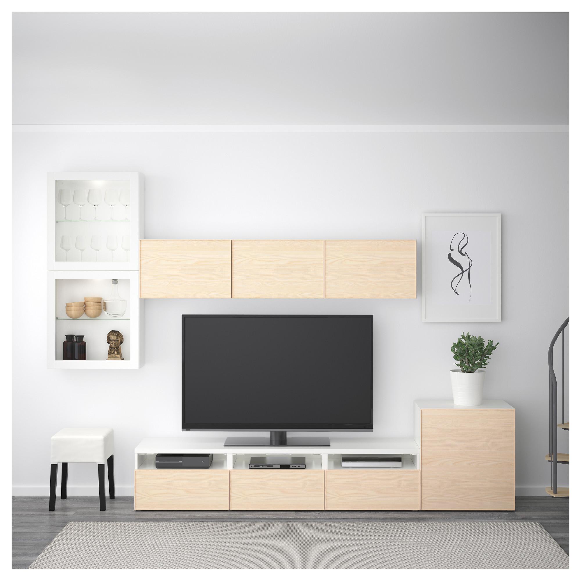 Шкаф для ТВ, комбинированный, стекляные дверцы БЕСТО белый артикуль № 892.522.16 в наличии. Интернет сайт IKEA Республика Беларусь. Быстрая доставка и соборка.