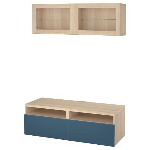 Шкаф для ТВ, комбинированный, стекляные дверцы БЕСТО темно-синий артикуль № 992.505.04 в наличии. Интернет магазин IKEA Беларусь. Недорогая доставка и монтаж.