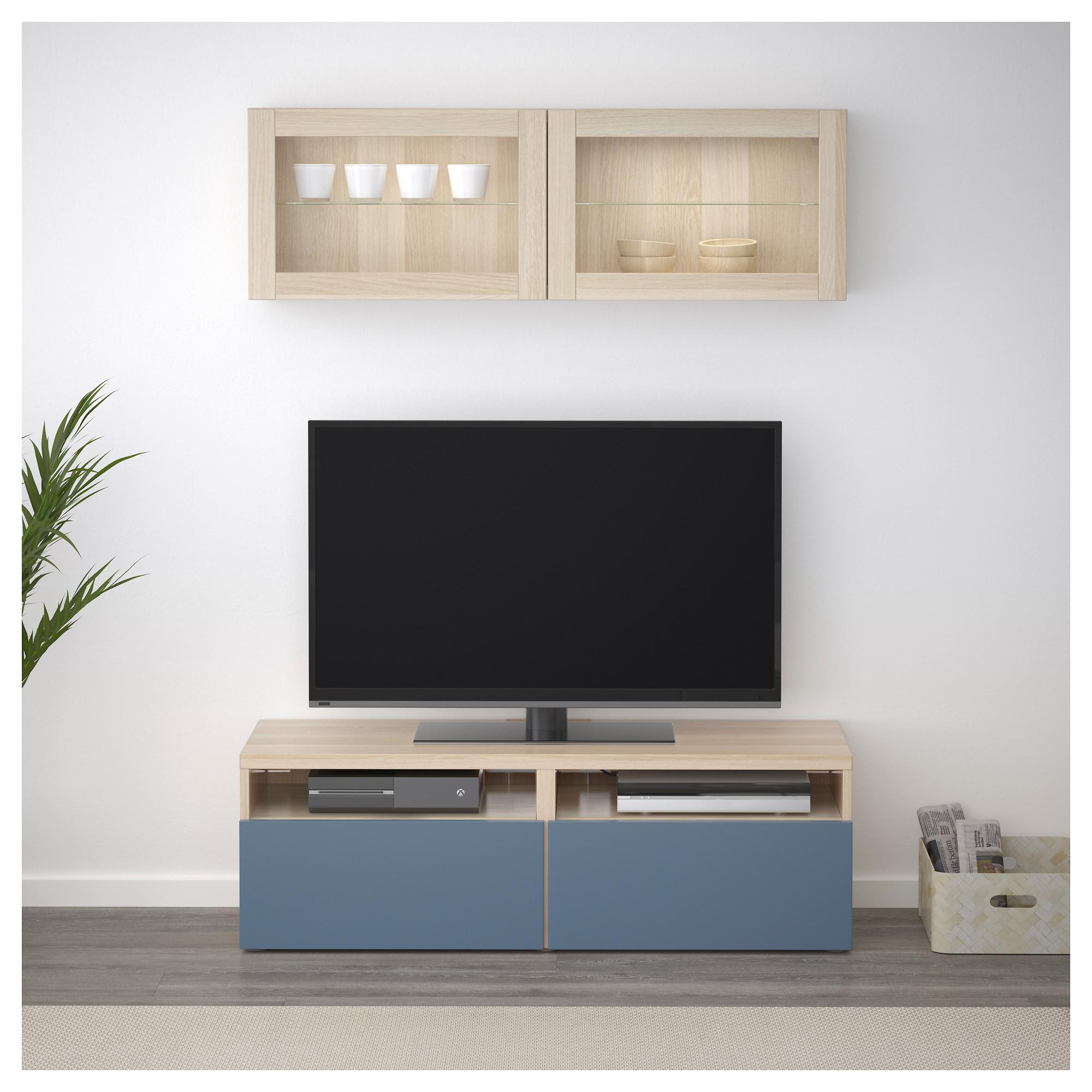 Шкаф для ТВ, комбинированный, стекляные дверцы БЕСТО темно-синий артикуль № 992.505.04 в наличии. Онлайн каталог IKEA РБ. Недорогая доставка и установка.