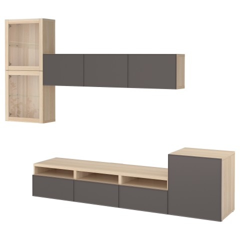 Шкаф для ТВ, комбинированный, стекляные дверцы БЕСТО темно-серый артикуль № 992.522.11 в наличии. Интернет сайт IKEA Беларусь. Недорогая доставка и установка.
