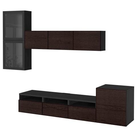 Шкаф для ТВ, комбинированный, стекляные дверцы БЕСТО черно-коричневый артикуль № 992.522.49 в наличии. Интернет сайт IKEA Минск. Недорогая доставка и соборка.
