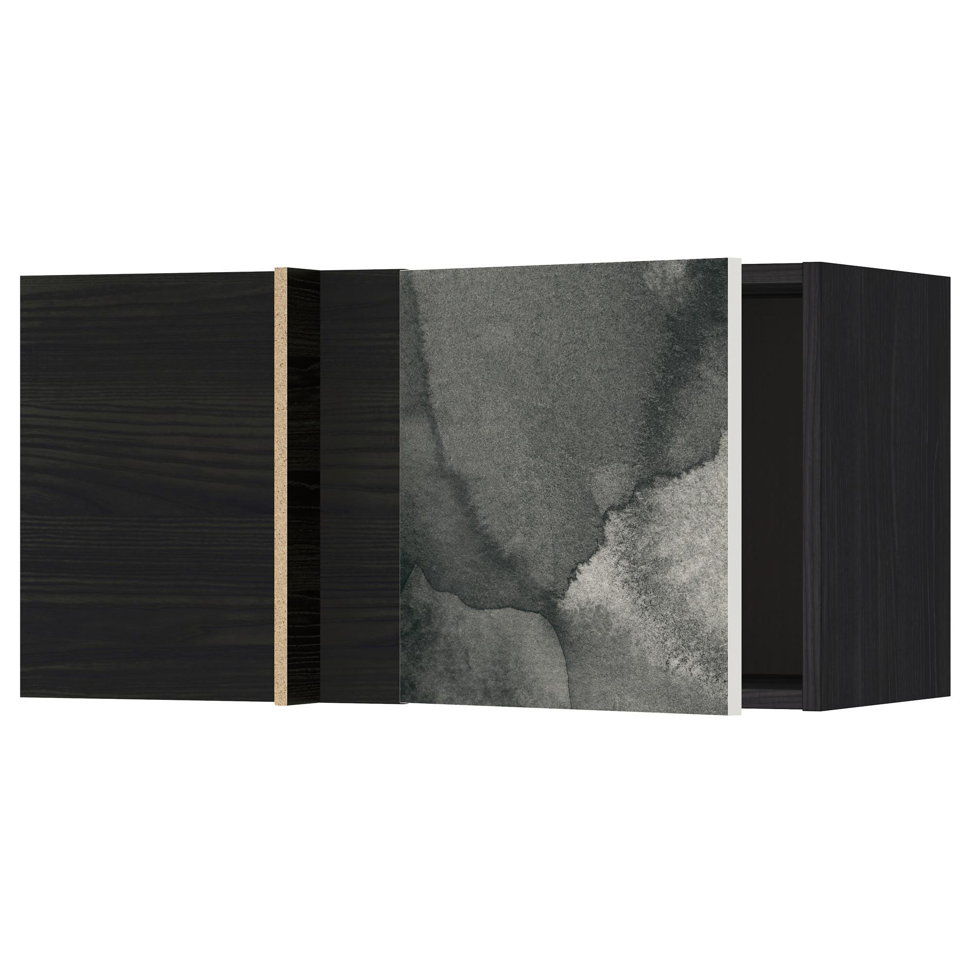 Шкаф навесной угловой МЕТОД черный артикуль № 692.320.26 в наличии. Интернет магазин IKEA Республика Беларусь. Недорогая доставка и установка.