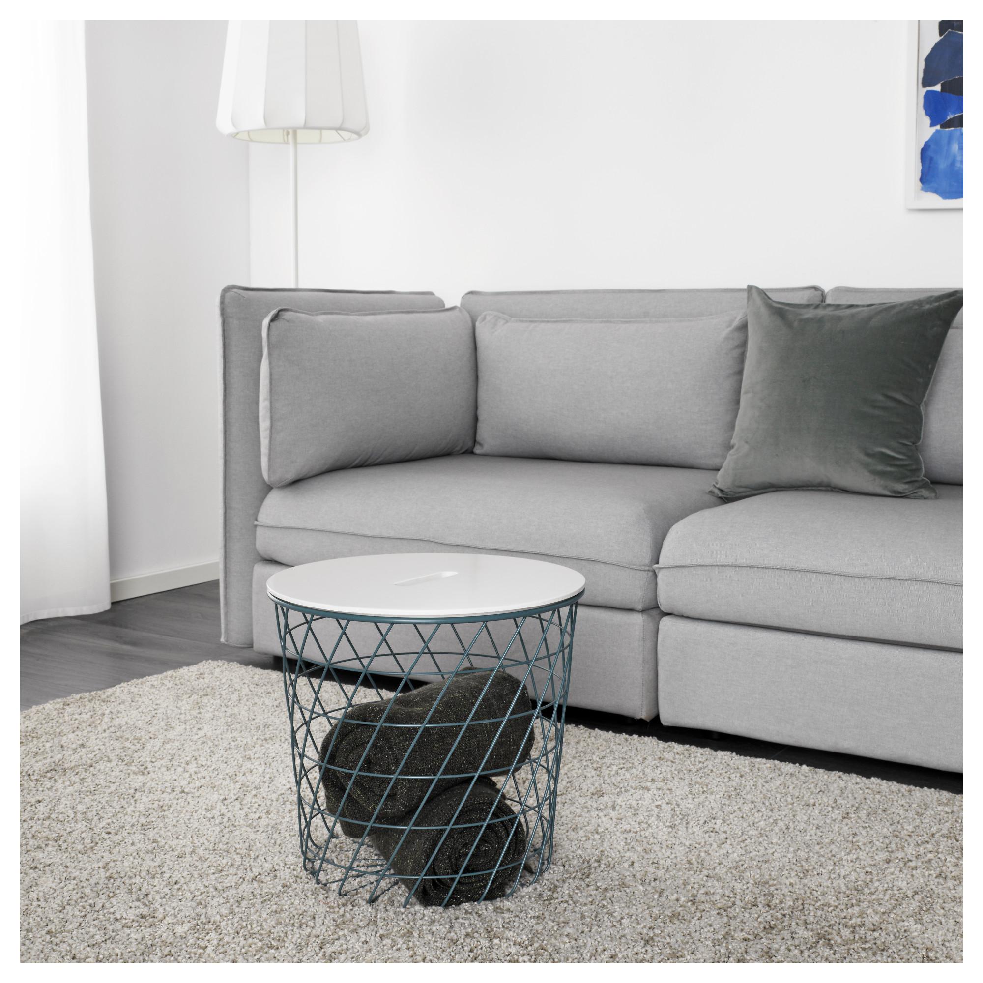 Столик с отделениями для хранения КВИСТБРУ бирюзовый артикуль № 103.841.68 в наличии. Онлайн магазин IKEA РБ. Недорогая доставка и установка.