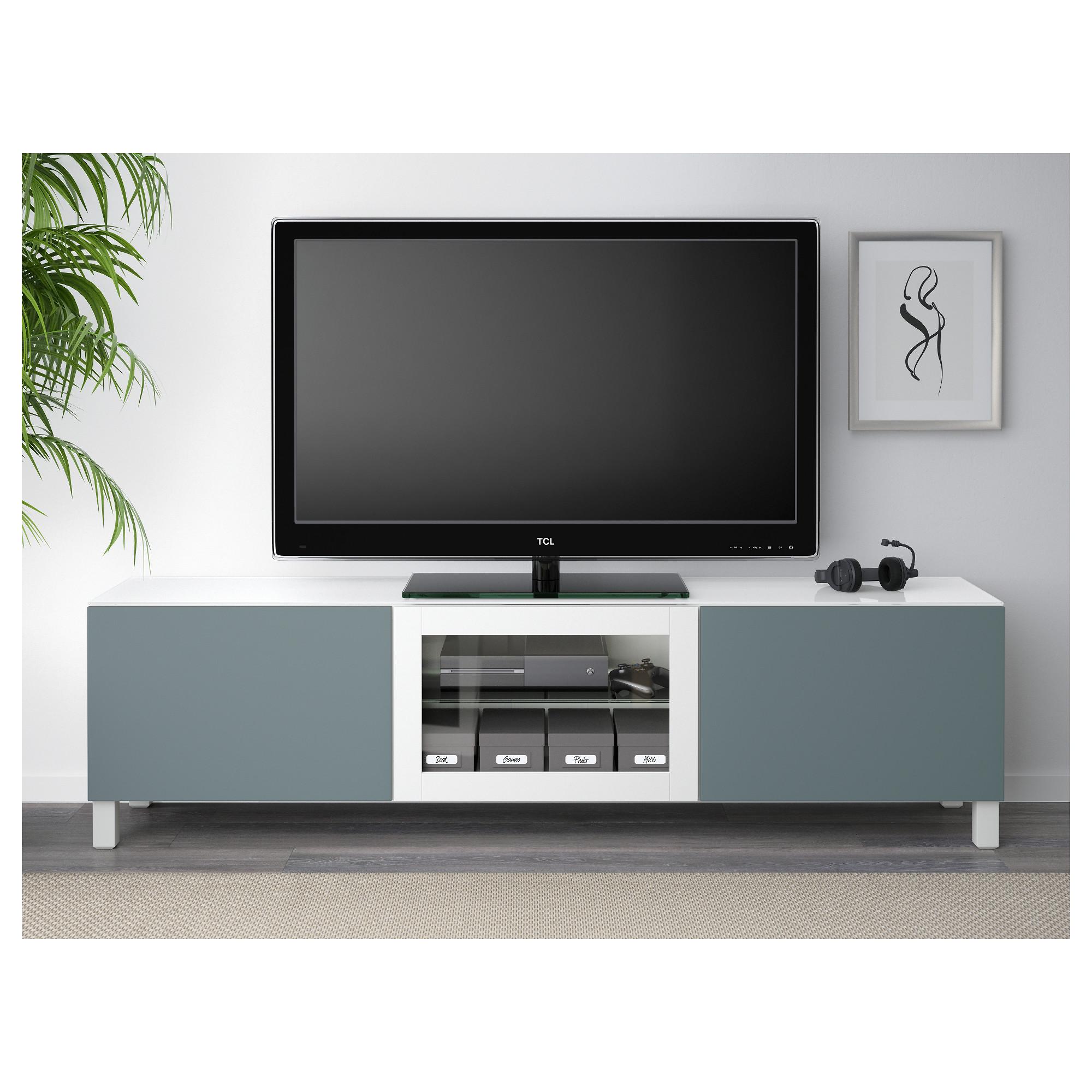 Тумба под ТВ, с дверцами БЕСТО белый артикуль № 592.450.10 в наличии. Онлайн сайт IKEA РБ. Быстрая доставка и соборка.