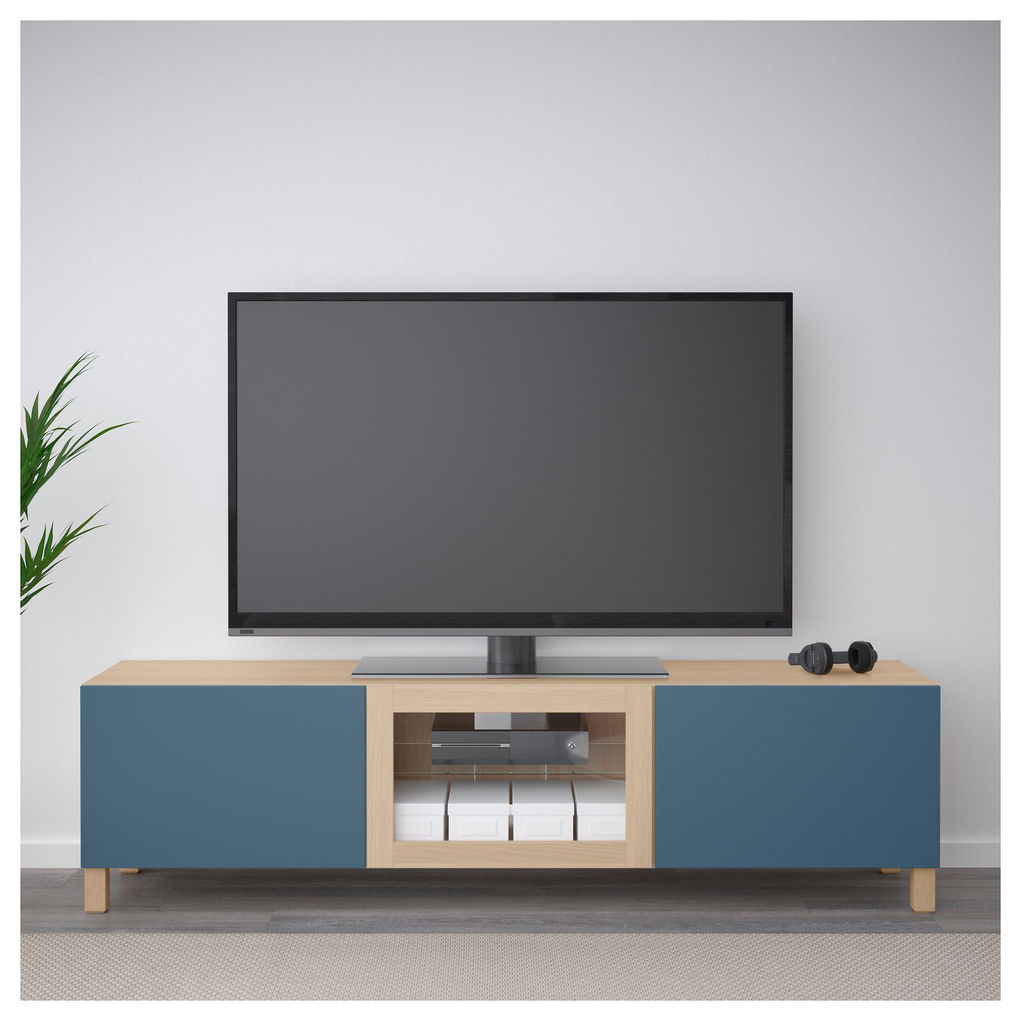 Тумба под ТВ с ящиками и дверцей БЕСТО темно-синий артикуль № 092.506.88 в наличии. Интернет магазин IKEA РБ. Быстрая доставка и монтаж.
