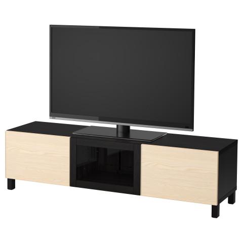 Тумба под ТВ с ящиками и дверцей БЕСТО черно-коричневый артикуль № 192.510.22 в наличии. Интернет магазин IKEA РБ. Быстрая доставка и установка.