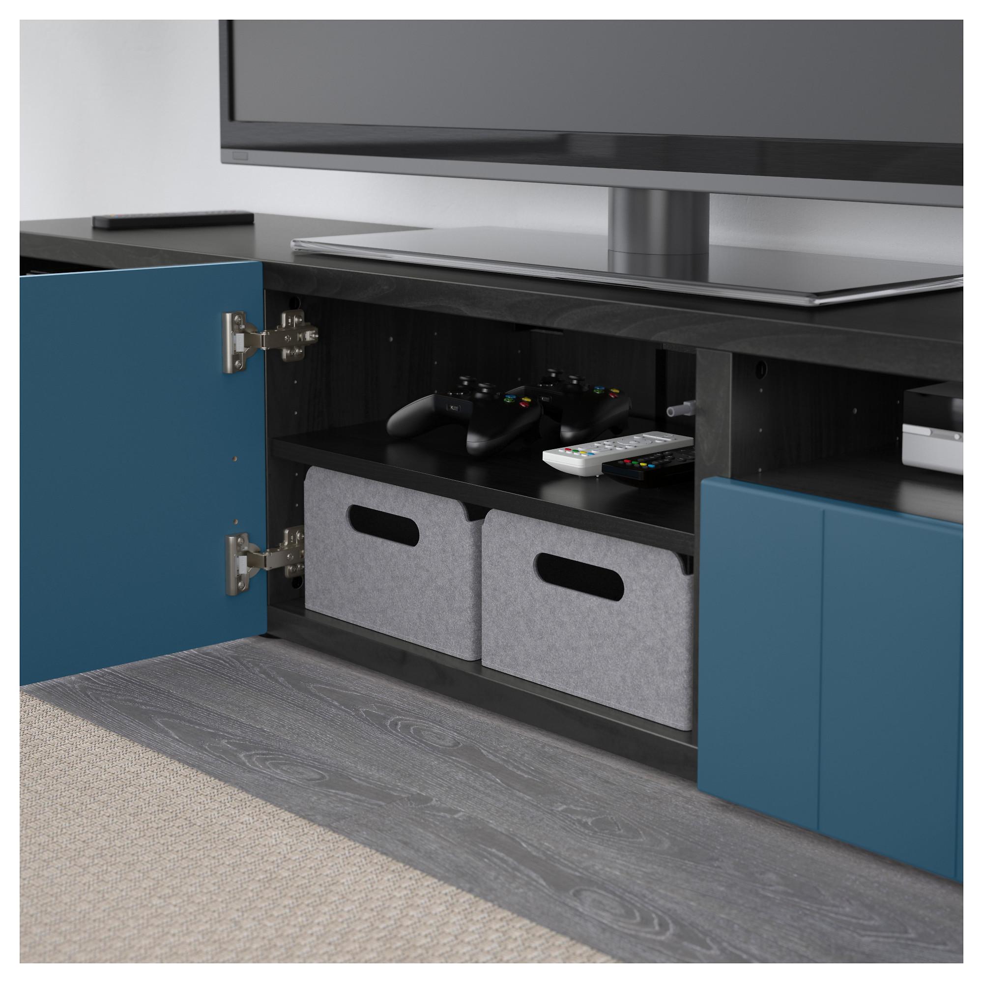 Тумба под ТВ с ящиками и дверцей БЕСТО темно-синий артикуль № 492.758.37 в наличии. Online сайт IKEA Минск. Быстрая доставка и установка.