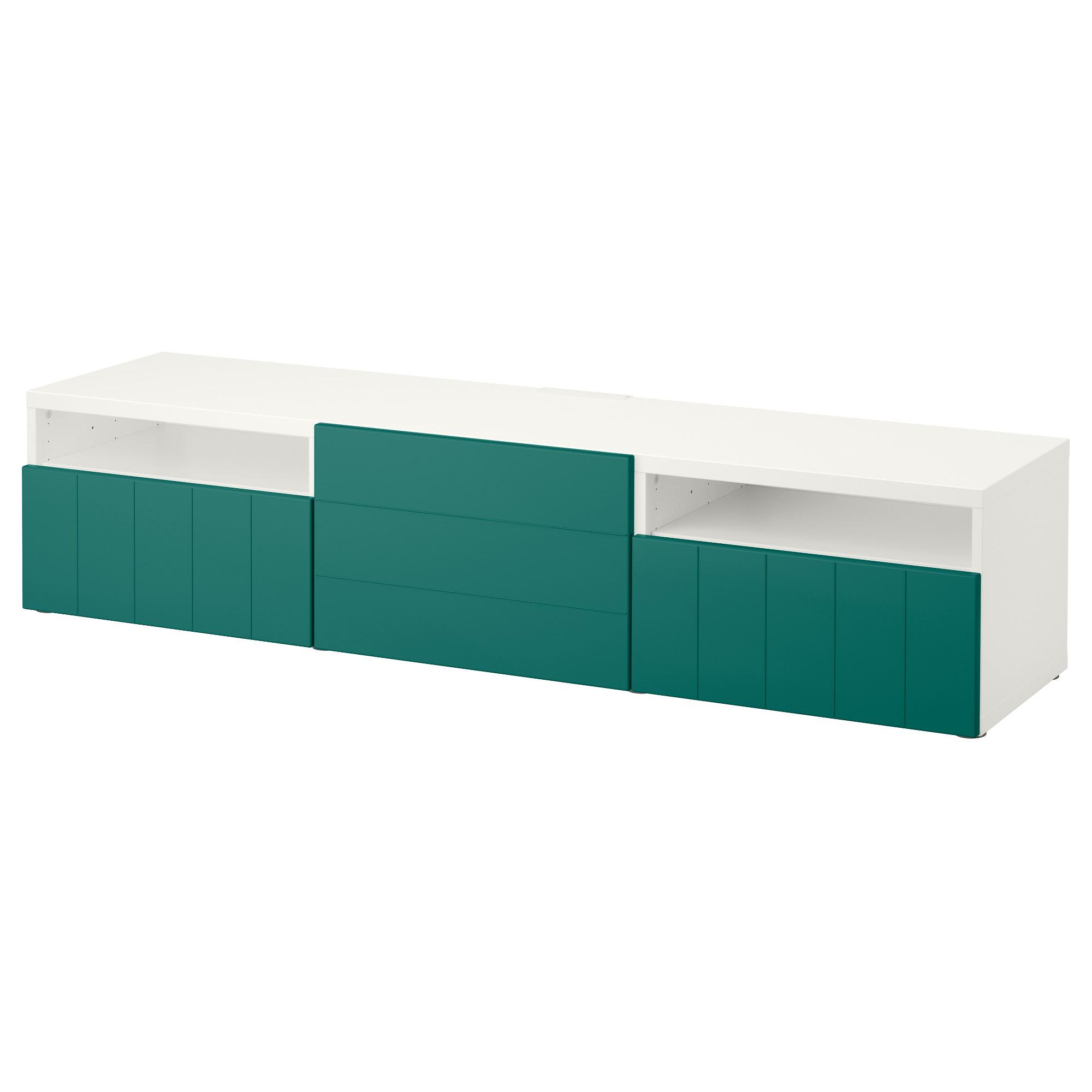 Тумба под ТВ с ящиками и дверцей БЕСТО сине-зеленый артикуль № 792.758.31 в наличии. Online магазин IKEA РБ. Недорогая доставка и монтаж.