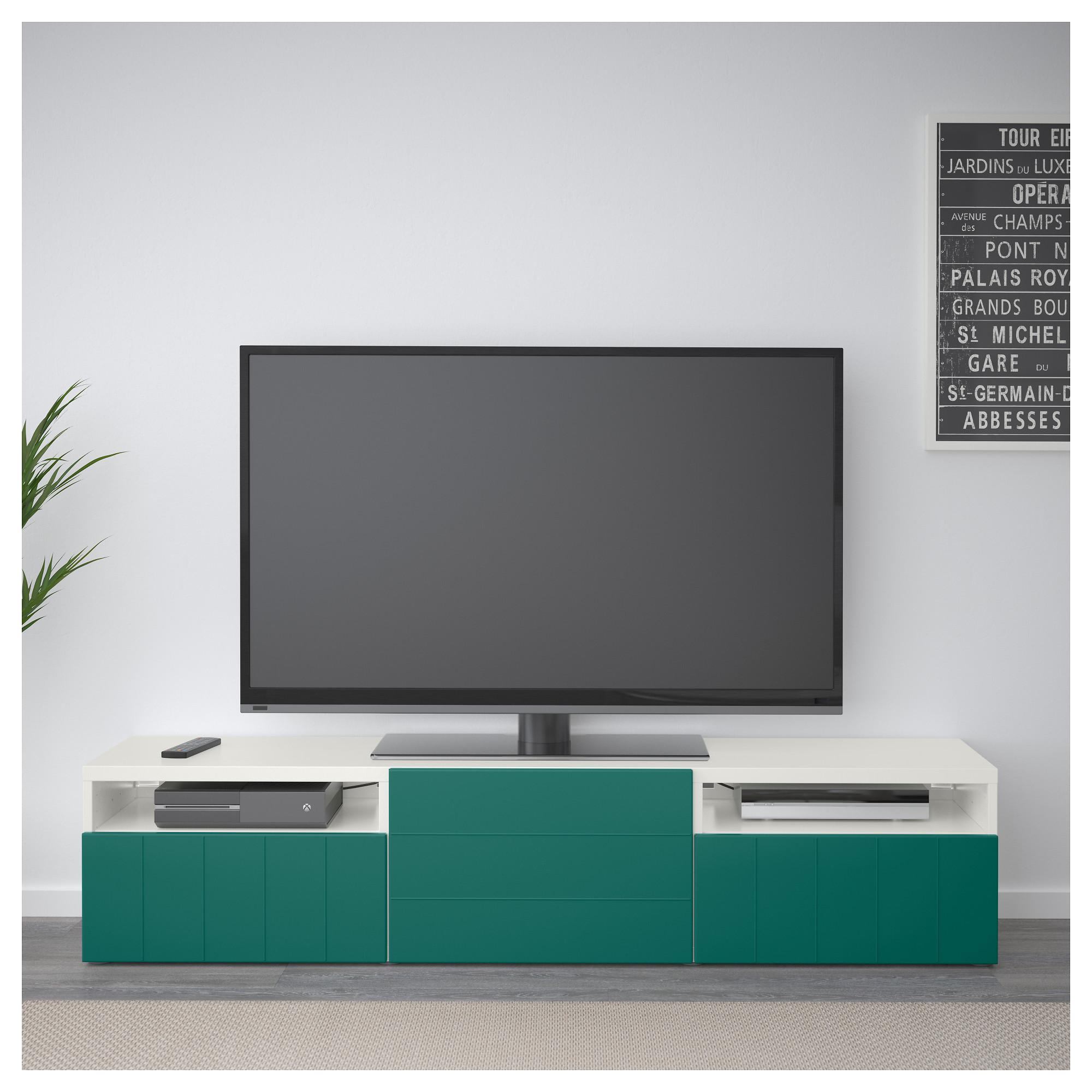 Тумба под ТВ с ящиками и дверцей БЕСТО сине-зеленый артикуль № 792.758.31 в наличии. Online каталог IKEA РБ. Быстрая доставка и установка.