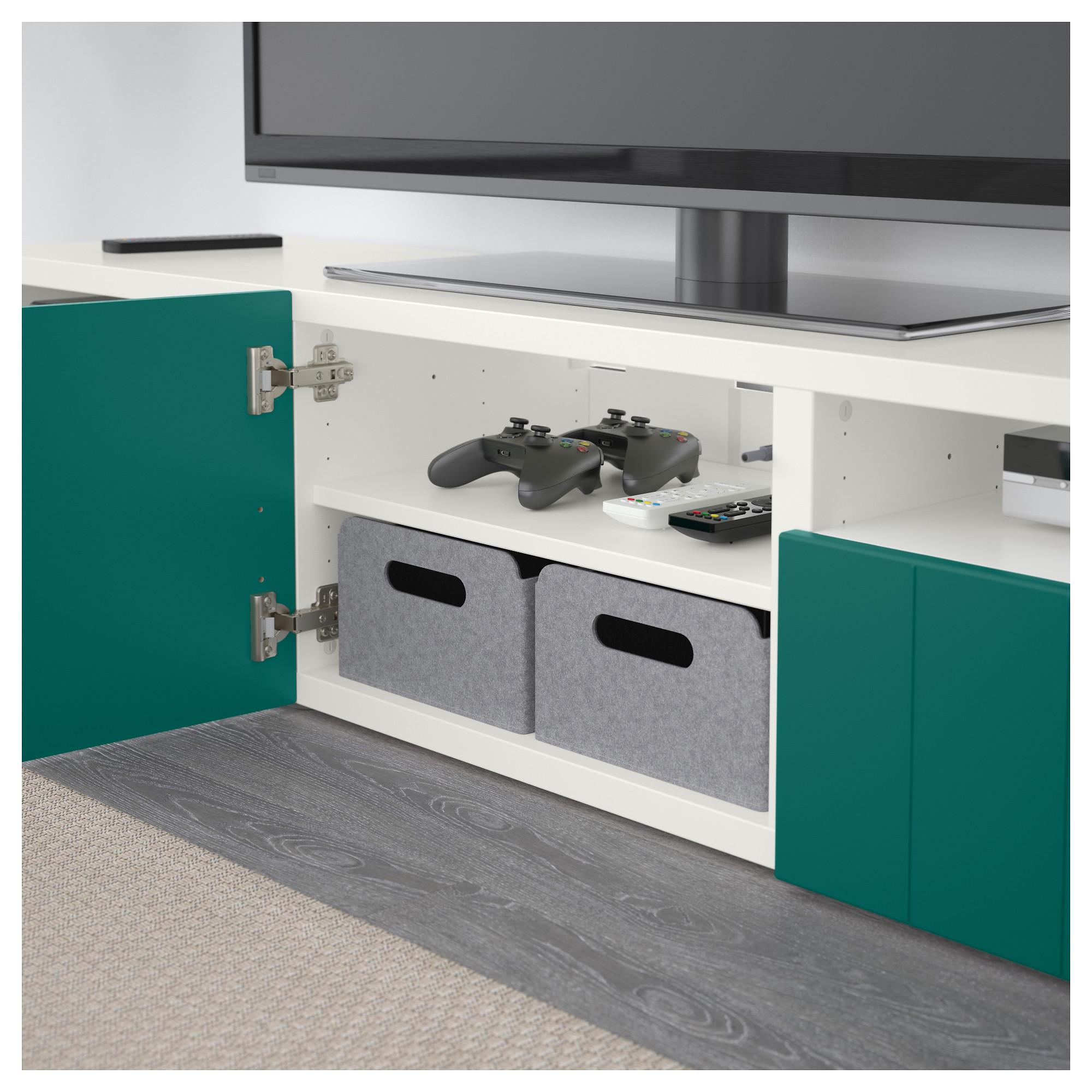 Тумба под ТВ с ящиками и дверцей БЕСТО сине-зеленый артикуль № 792.758.31 в наличии. Онлайн магазин IKEA РБ. Быстрая доставка и монтаж.