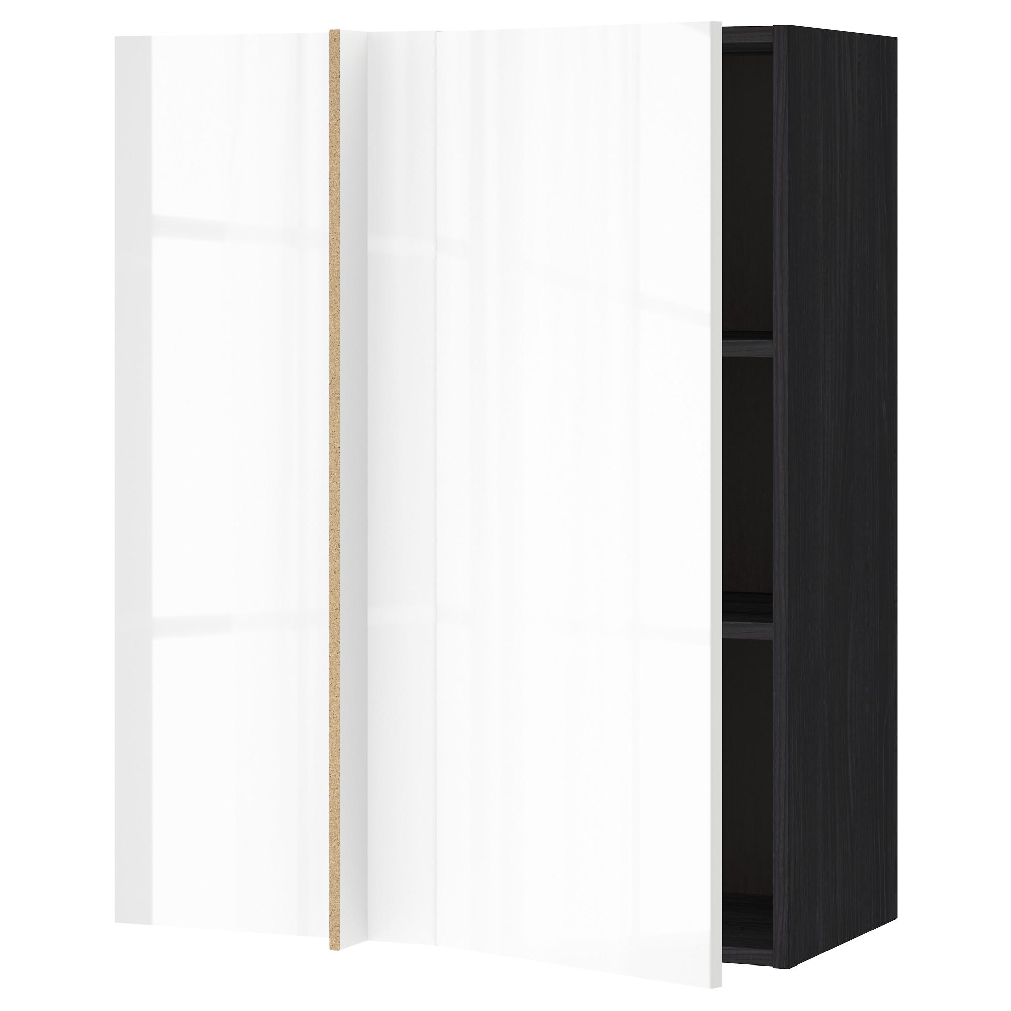 Угловой навесной шкаф с полками МЕТОД черный артикуль № 092.322.32 в наличии. Online сайт IKEA РБ. Быстрая доставка и установка.